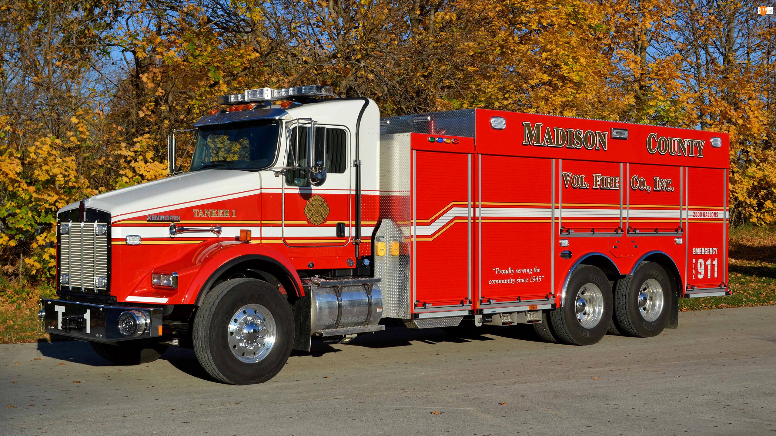 Droga, Straż pożarna, Kenworth T-800, Wóz strażacki, Drzewa