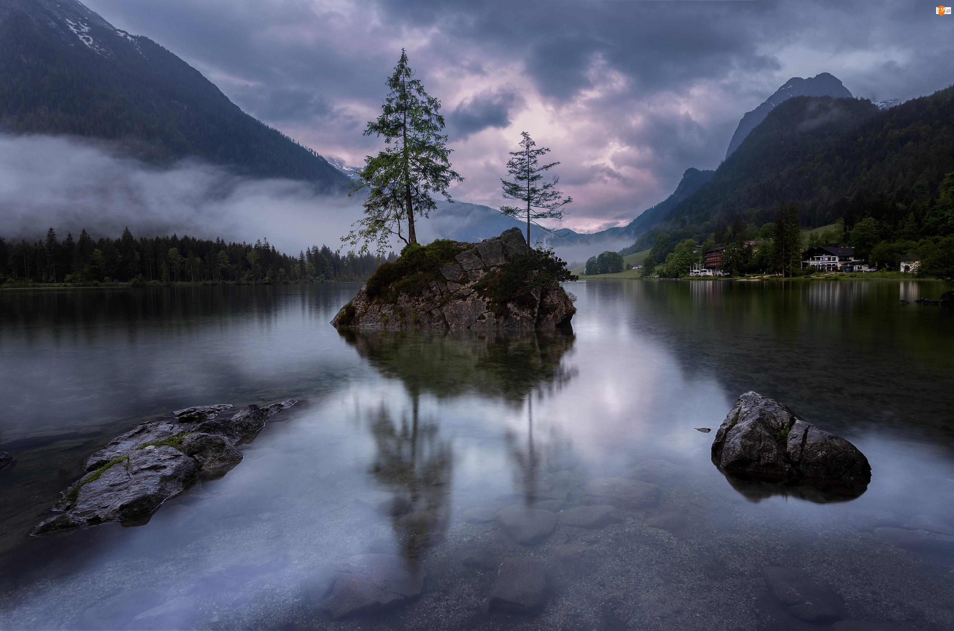 Góry Alpy, Drzewa, Niemcy, Jezioro Hintersee, Bawaria, Kamienie, Skały