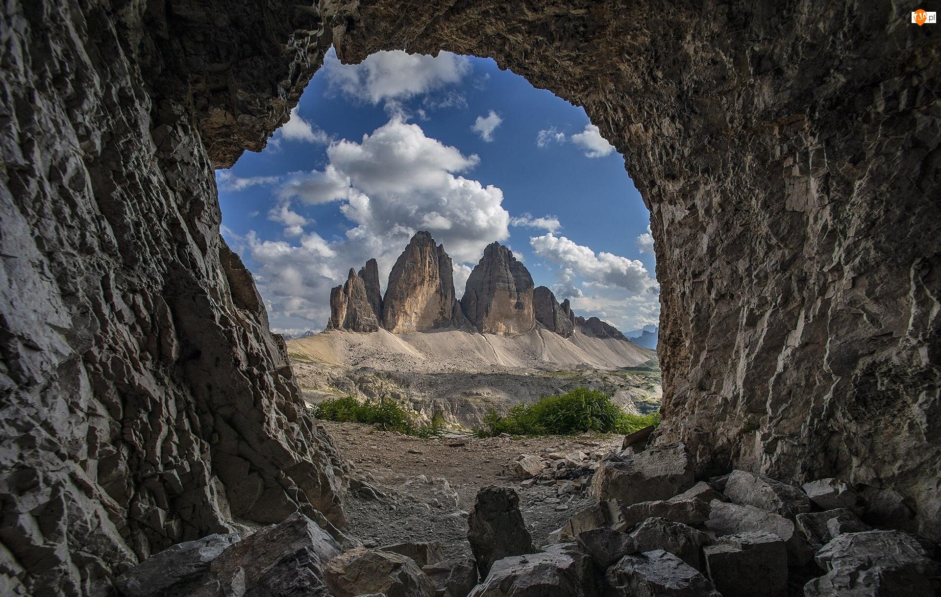 Masyw, Jaskinia, Góry, Tre Cime di Lavaredo, Grota, Dolomity, Włochy, Skała