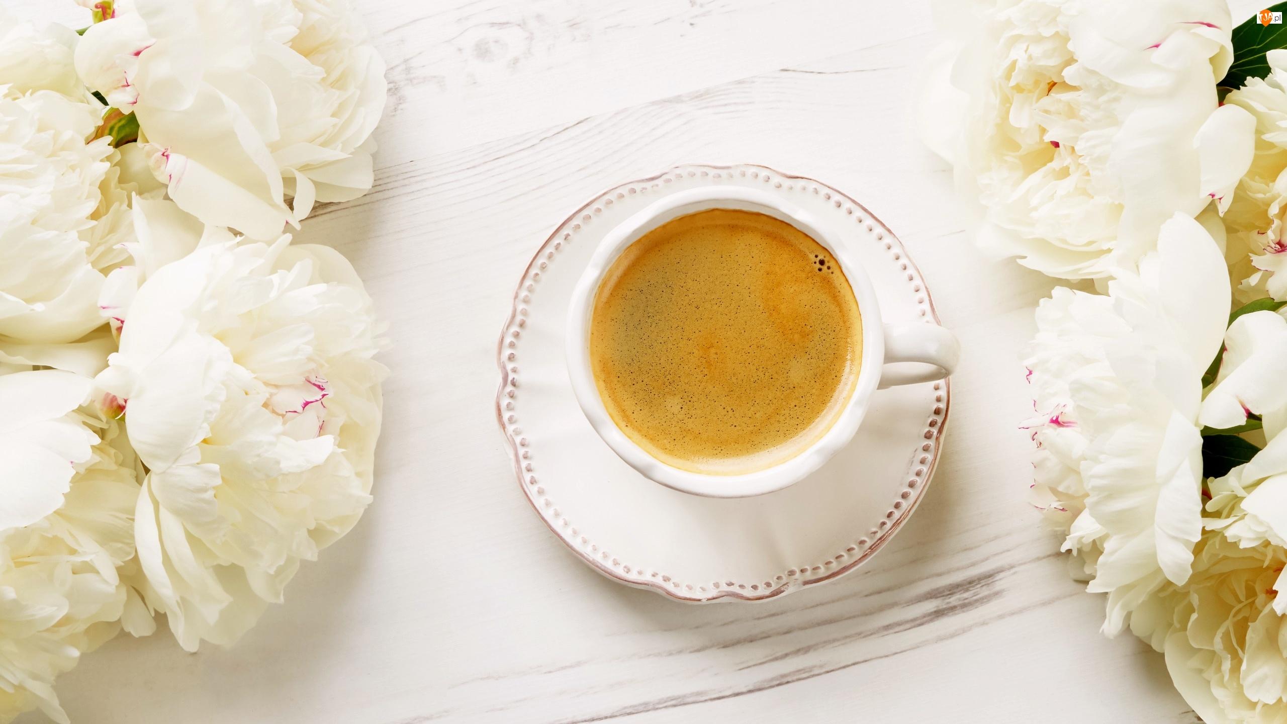 Filiżanka, Kawa, Kwiaty, Piwonie, Talerzyk, Białe