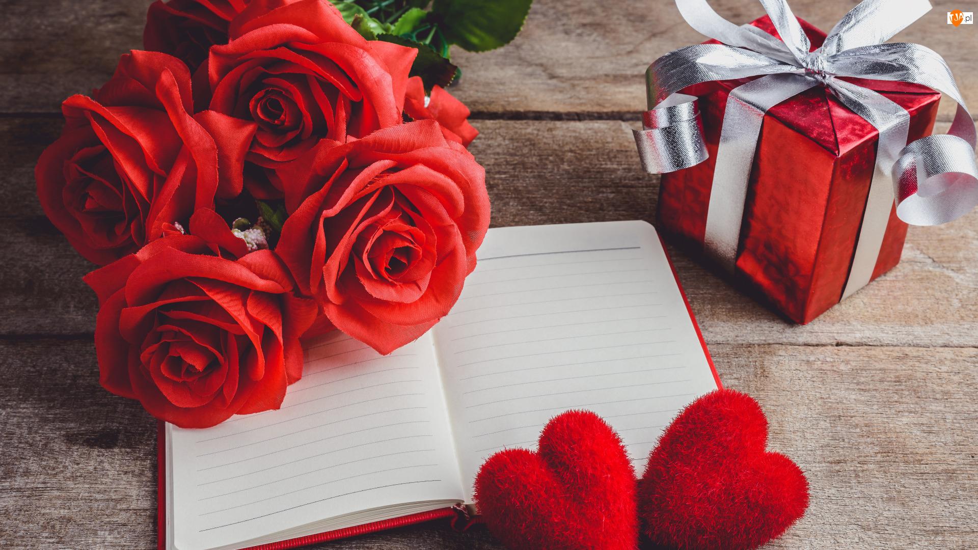 Róże, Czerwone, Zeszyt, Prezent, Bukiet, Serduszka