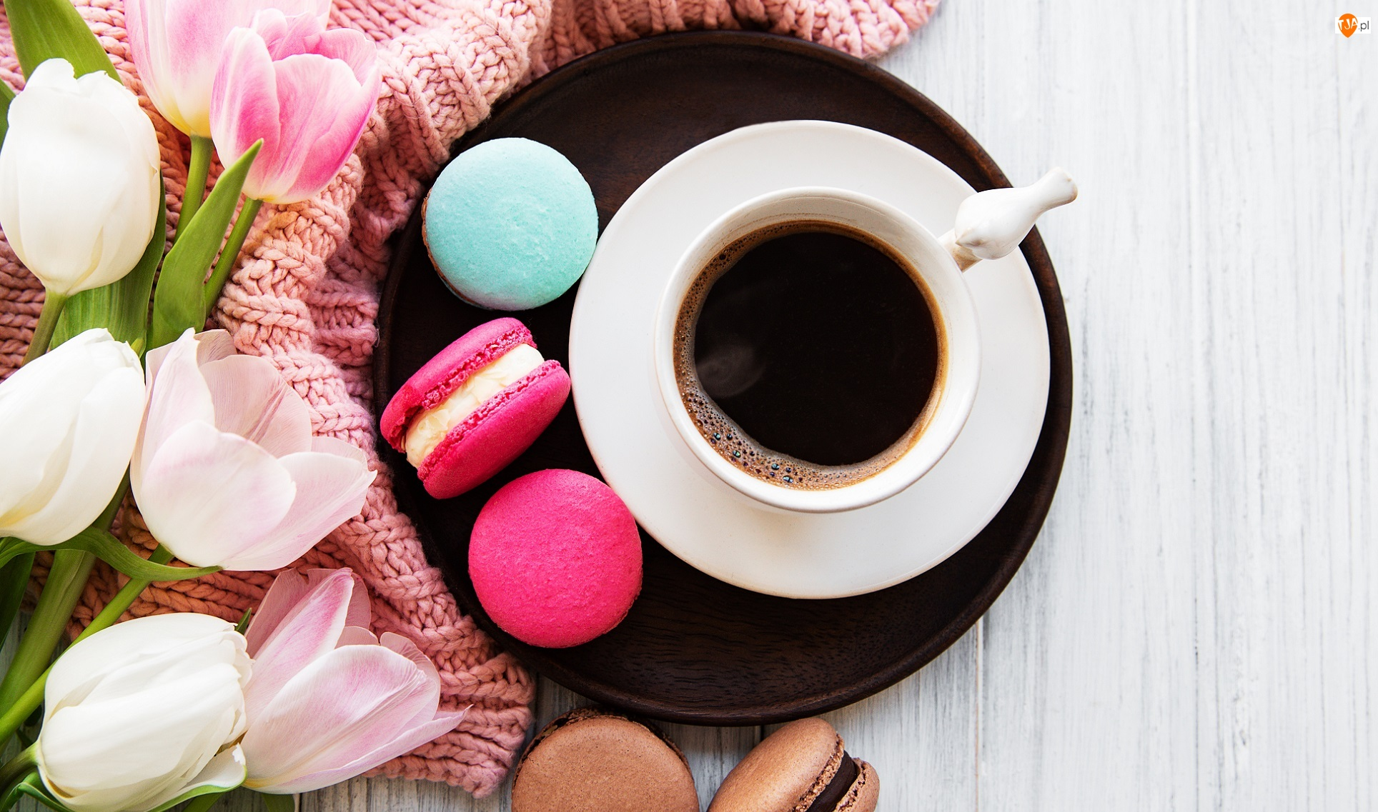 Kawa, Filiżanka, Tulipany, Makaroniki, Kwiaty, Ciasteczka
