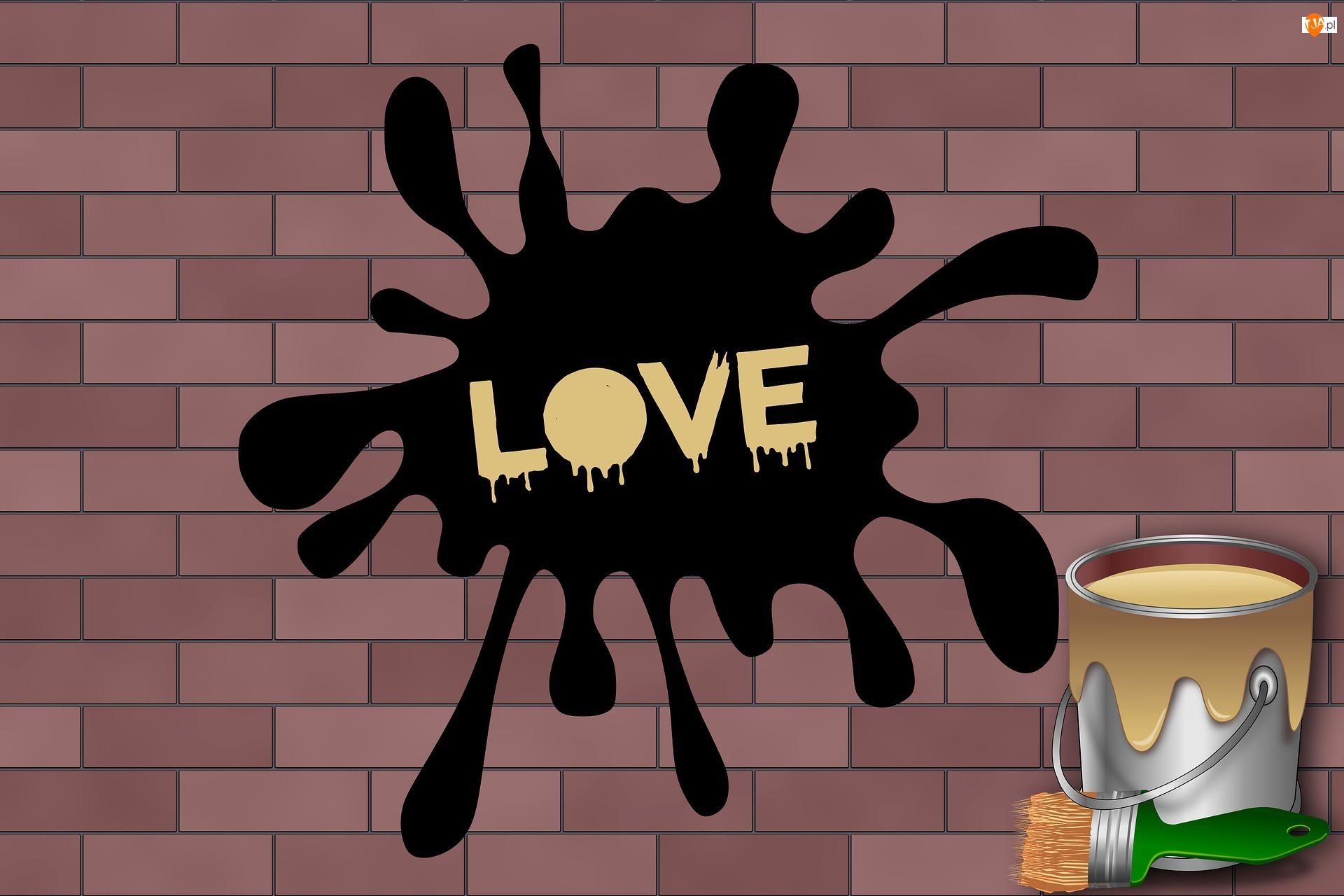 Farba, Cegła, Napis, Ściana, Mur, Love, 2D, Kleks
