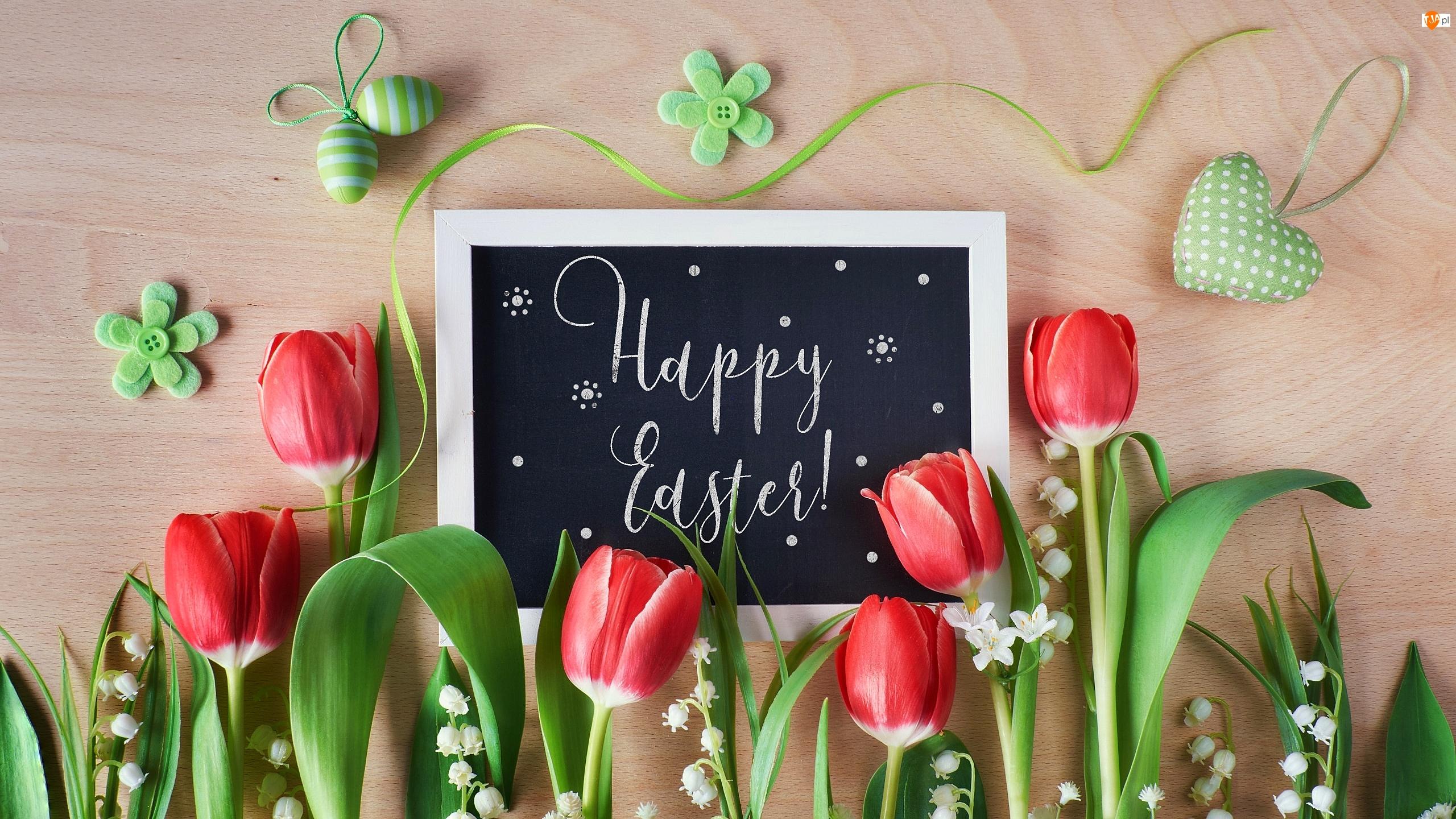 Jajeczka, Tulipany, Serce, Happy Easter, Zawieszka, Konwalie, Tablica, Wielkanoc, Napis