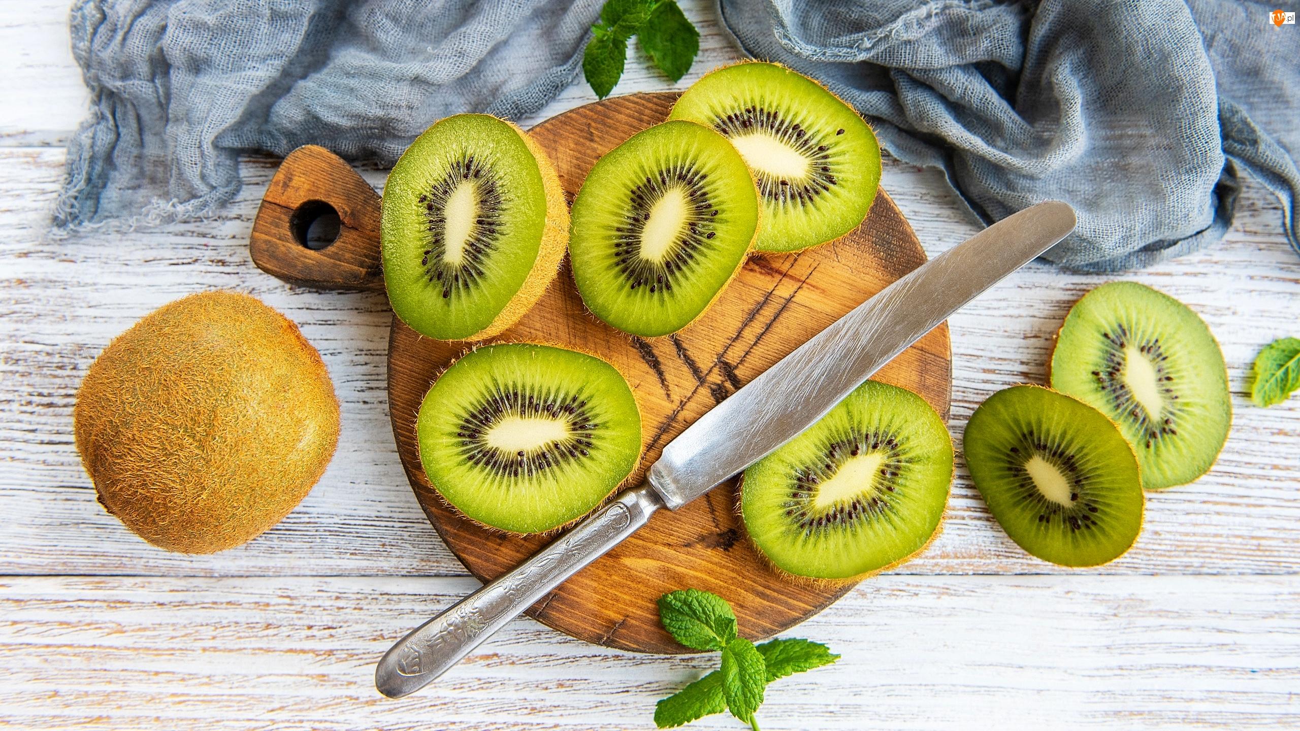 Kiwi, Plastry, Szalik, Owoce, Mięta, Nóż, Deska