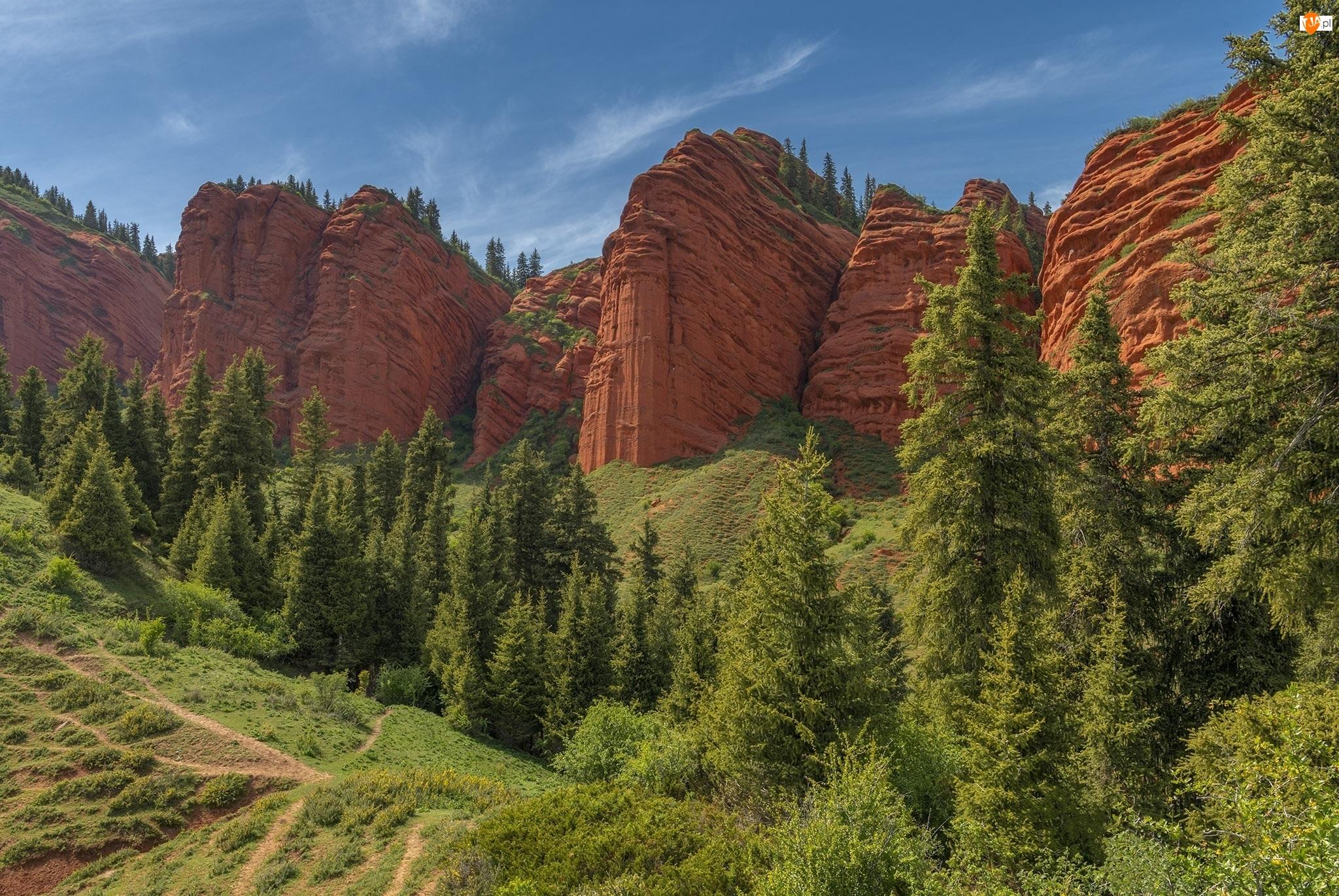 Skały, Kanion Konorchek Canyons, Drzewa, Kirgistan, Góry, Ścieżki