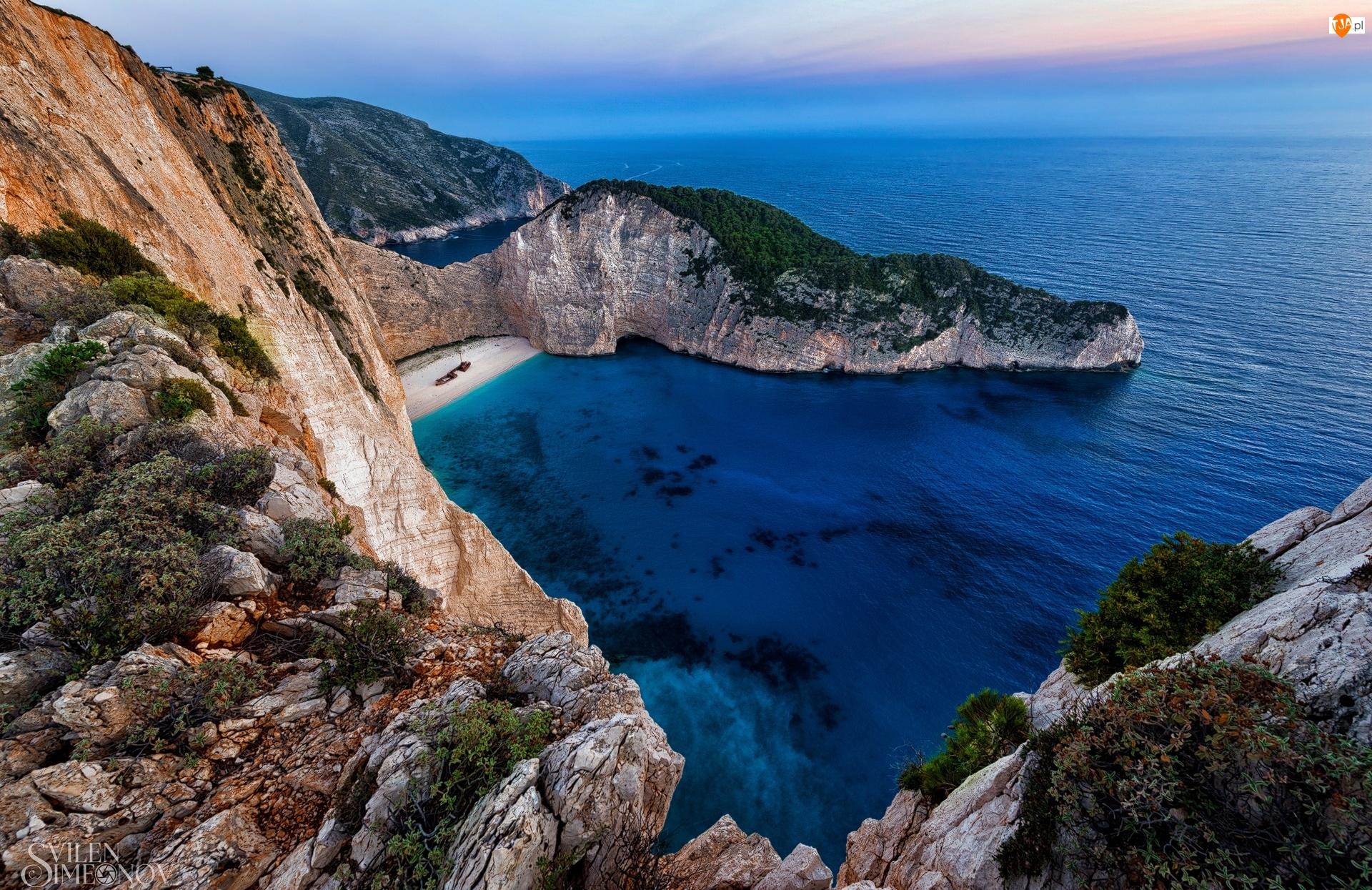Góry, Grecja, Zatoka Wraku, Klify, Wyspa Zakintos, Morze Jońskie, Skały, Plaża Nawajo