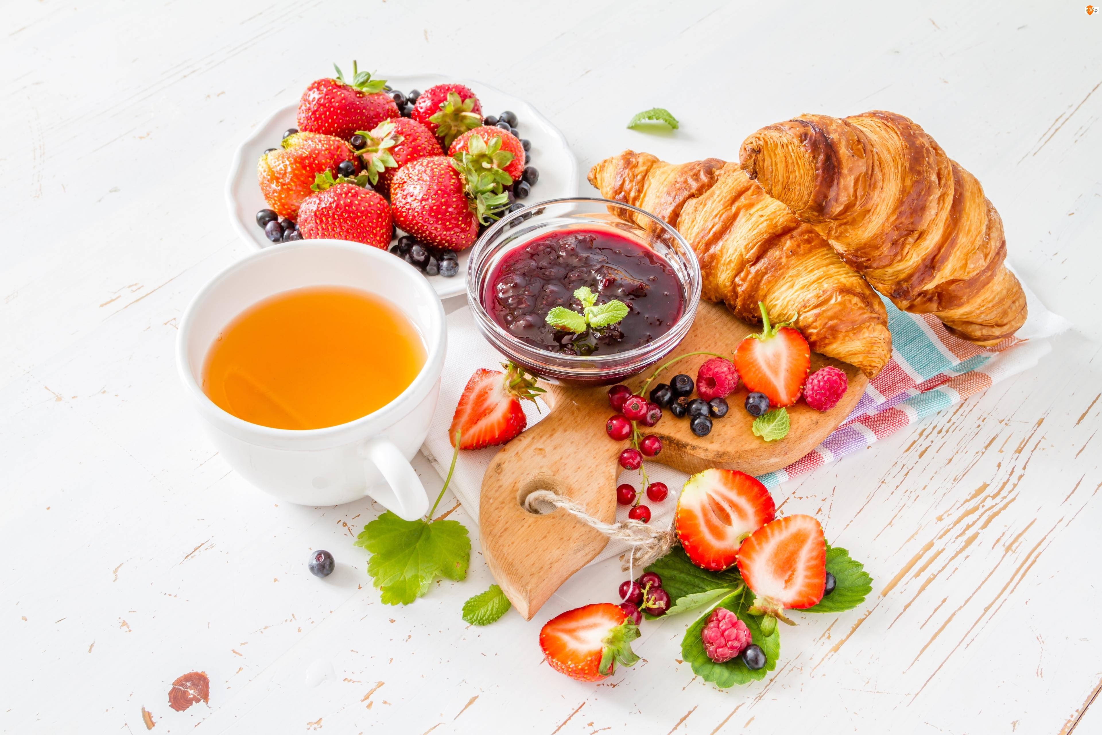 Dżem, Śniadanie, Owoce, Herbata, Rogale
