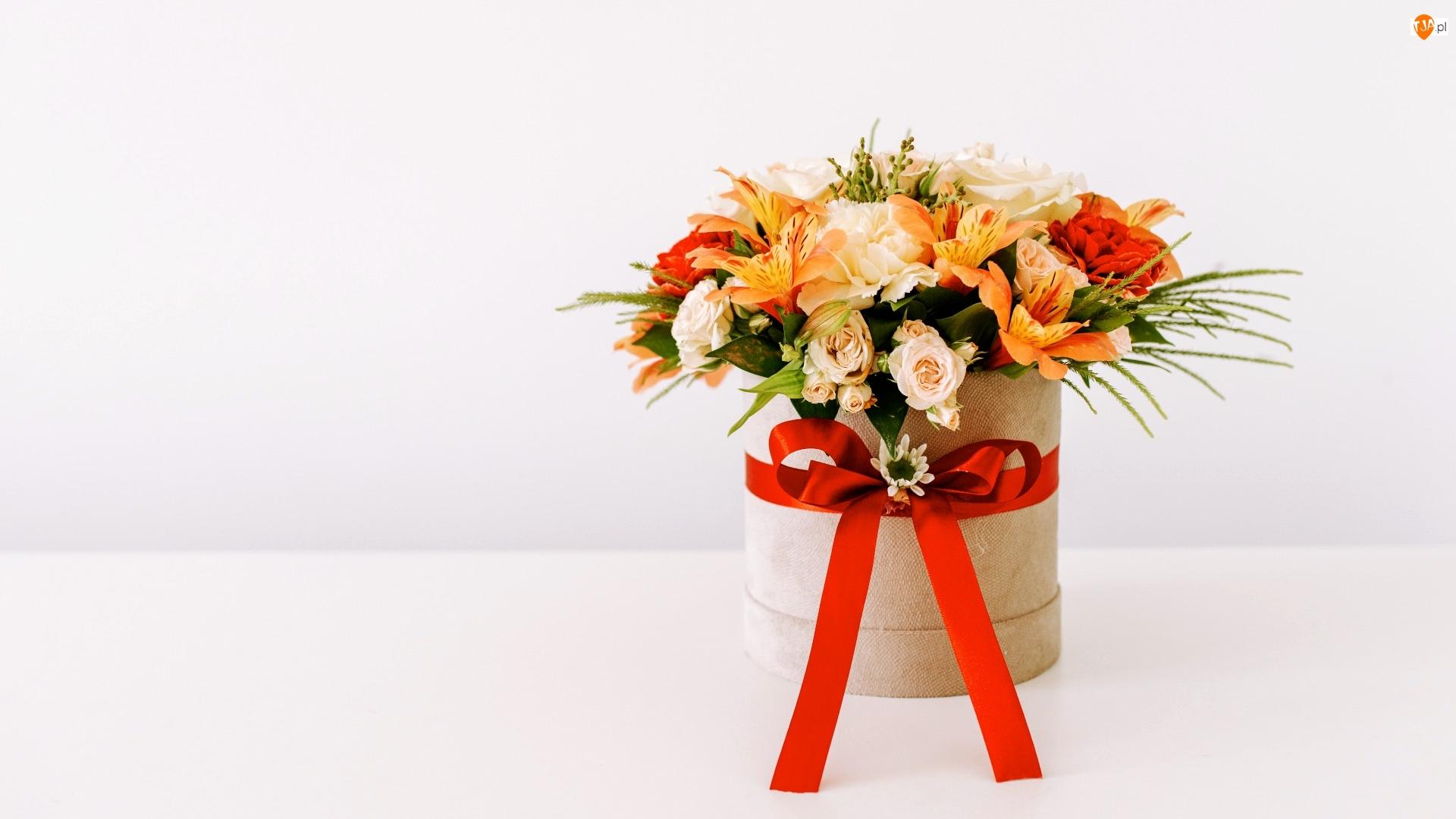 Kokarda, Bukiet kwiatów, Pudełko, Wstążka