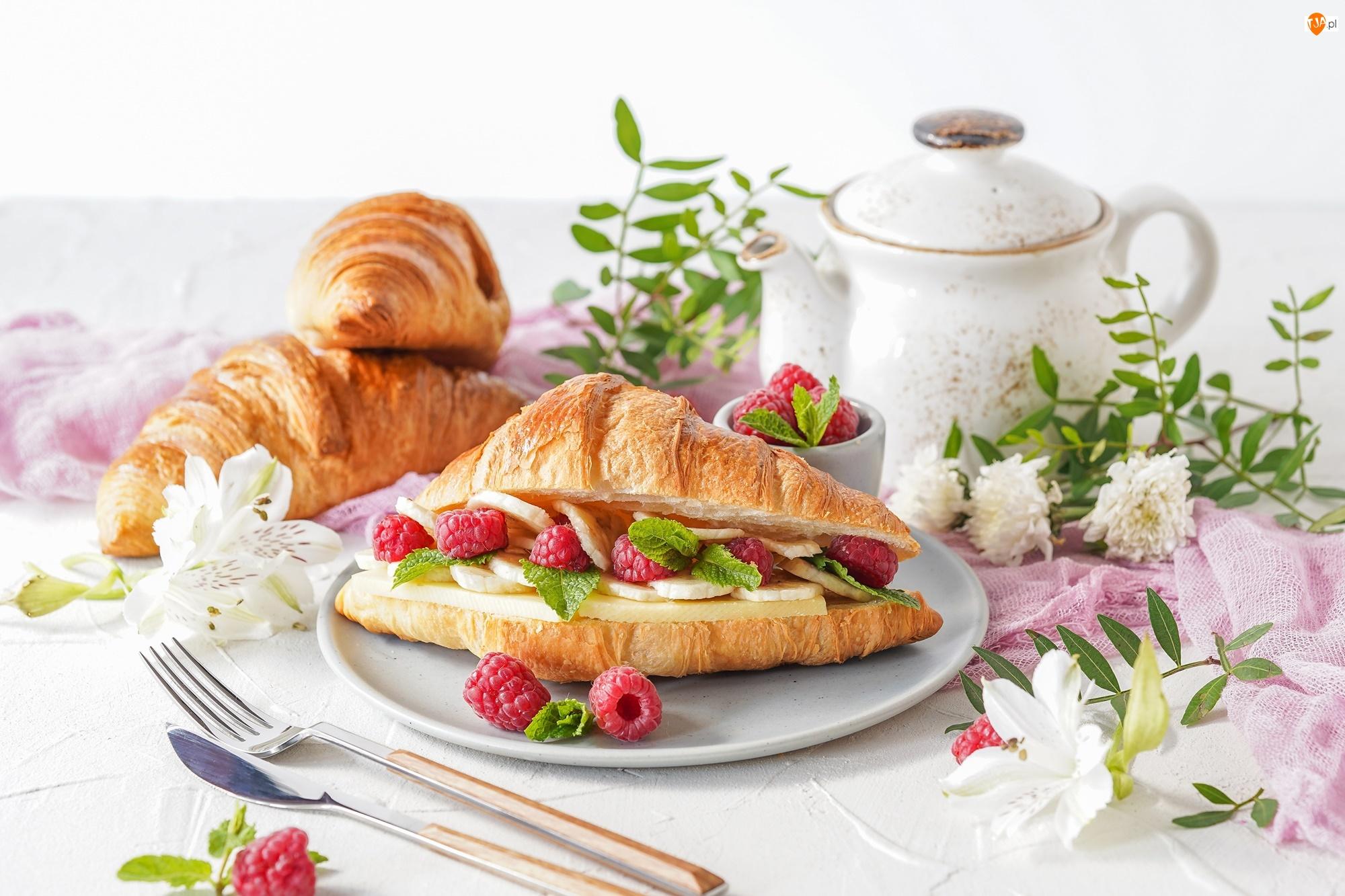 Maliny, Dzbanek, Owoce, Croissanty, Śniadanie