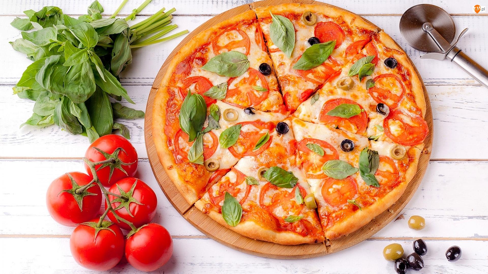 Pomidory, Bazylia, Deska, Pizza, Oliwki