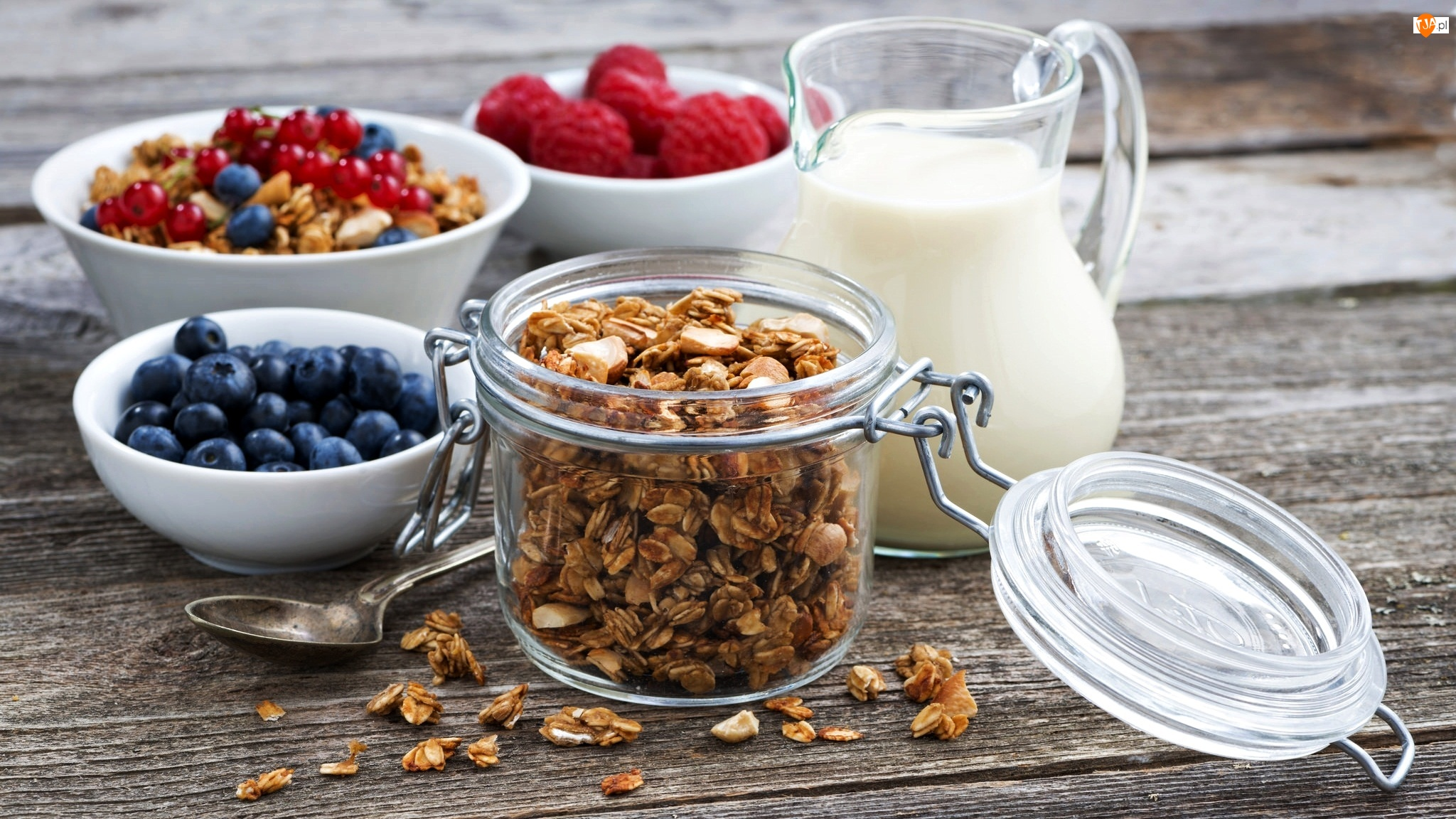Płatki, Śniadanie, Maliny, Mleko, Owoce, Jagody