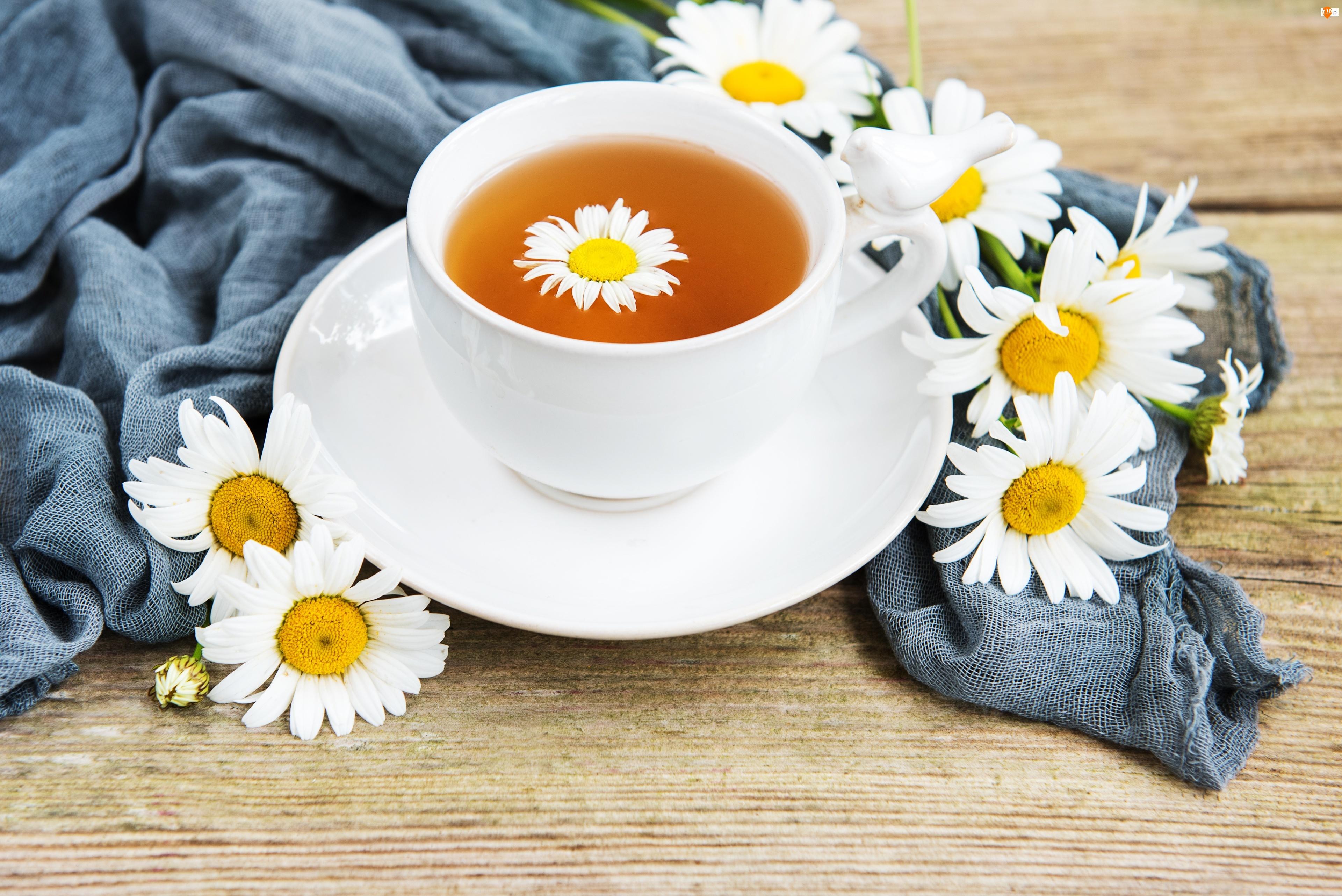 Filiżanka, Kwiaty, Rumianek, Herbata