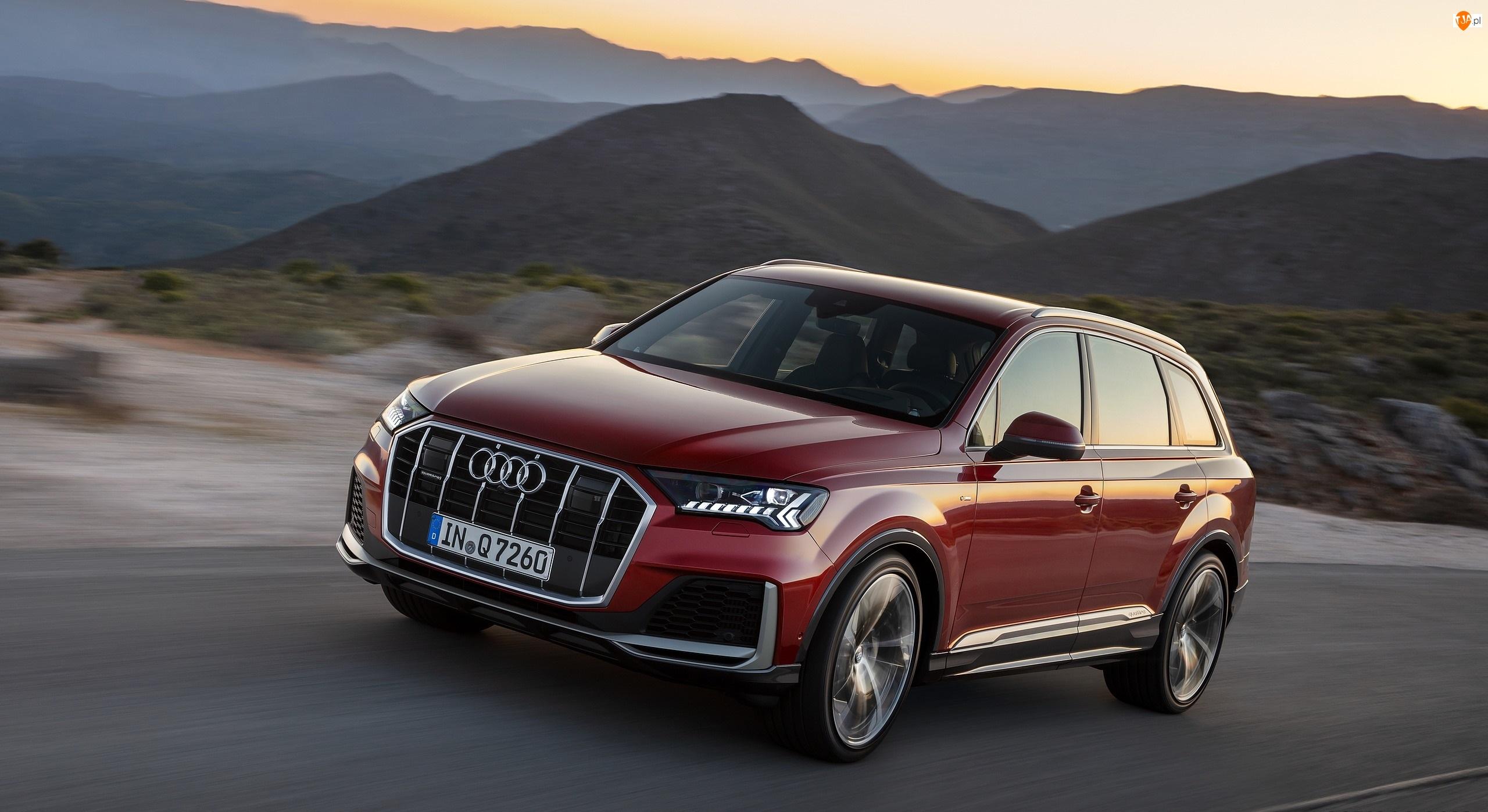 Droga, Czerwone, Audi Q7, Góry