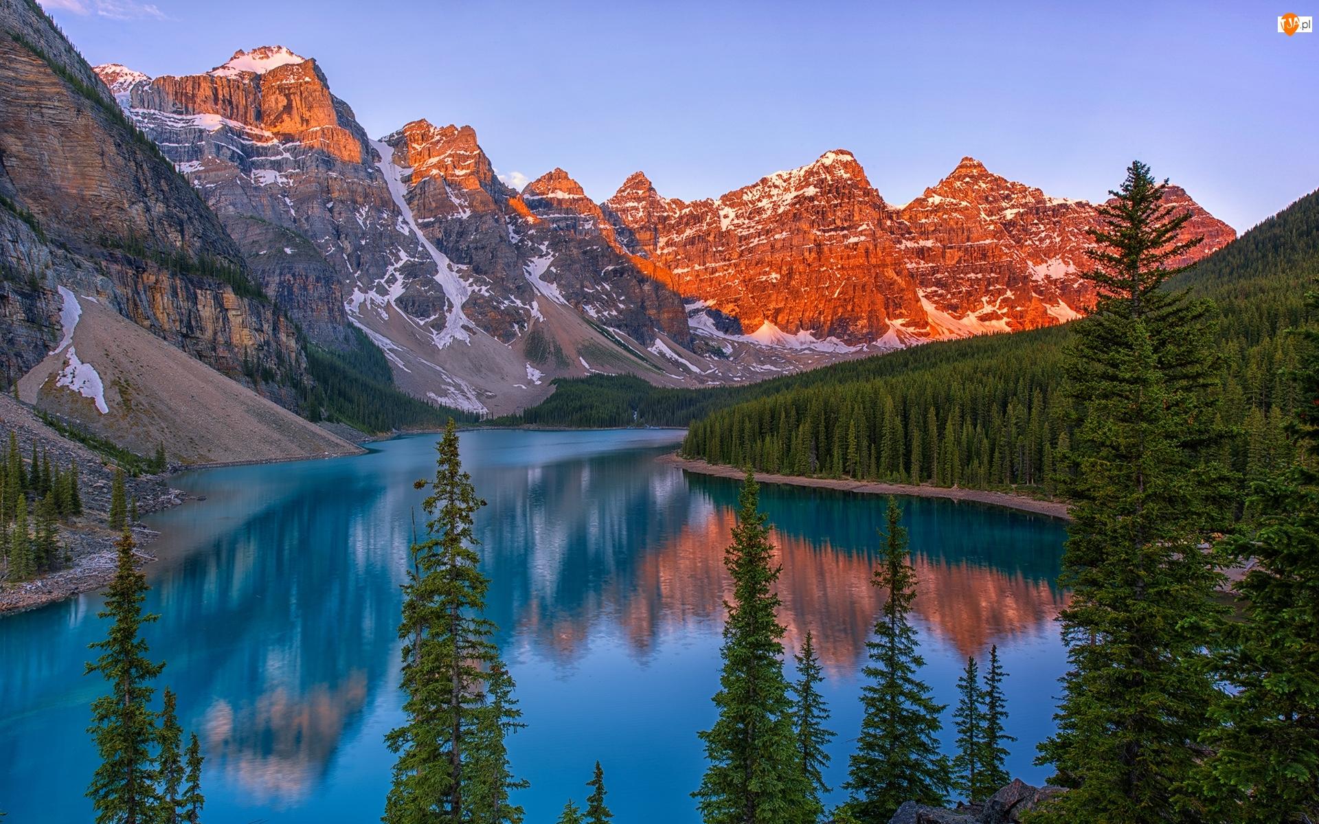 Prowincja Alberta, Kanada, Góry, Drzewa, Park Narodowy Banff, Jezioro Moraine