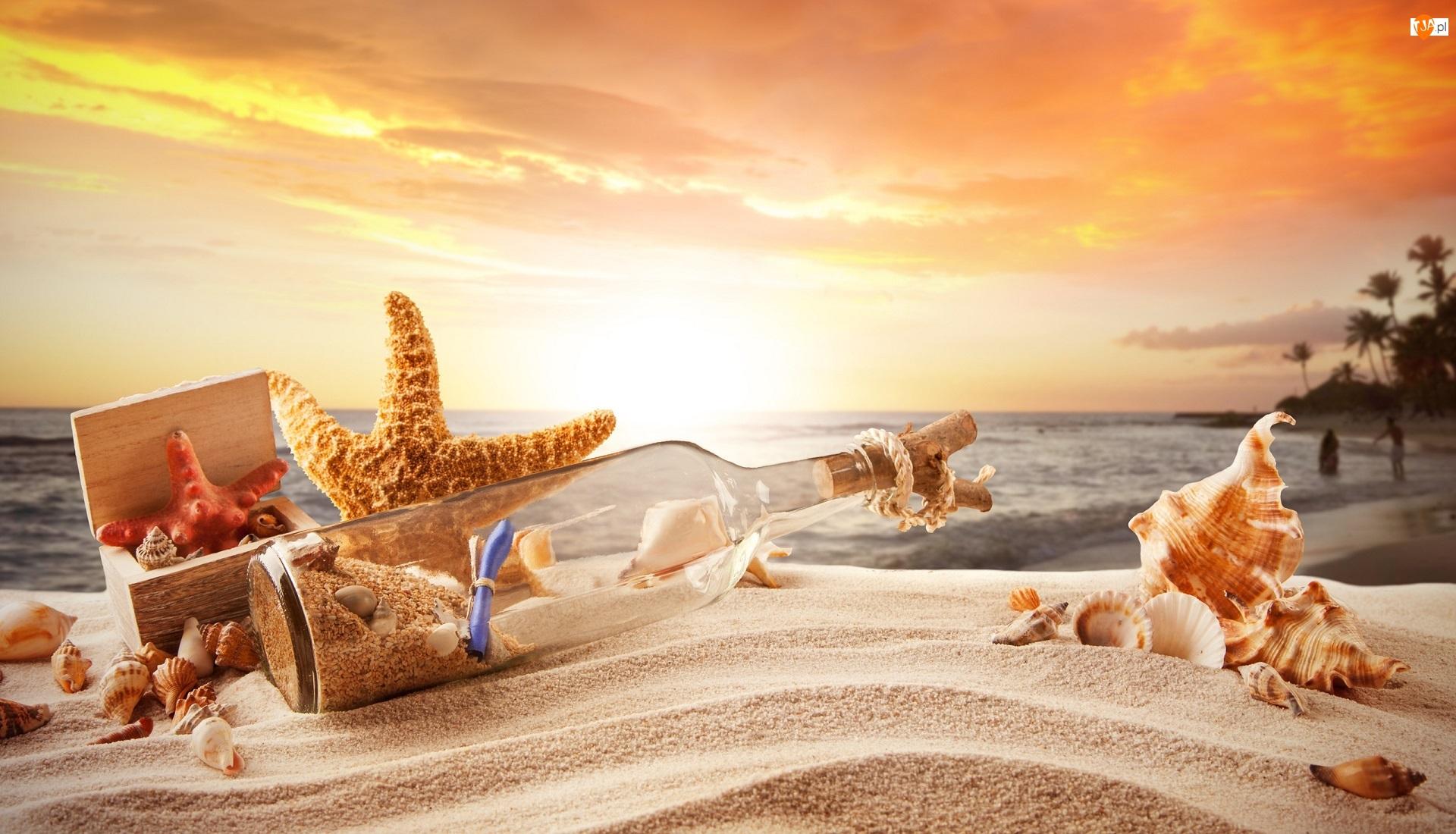 Morze, Zachód słońca, Muszelki, Rozgwiazdy, Plaża, Butelka