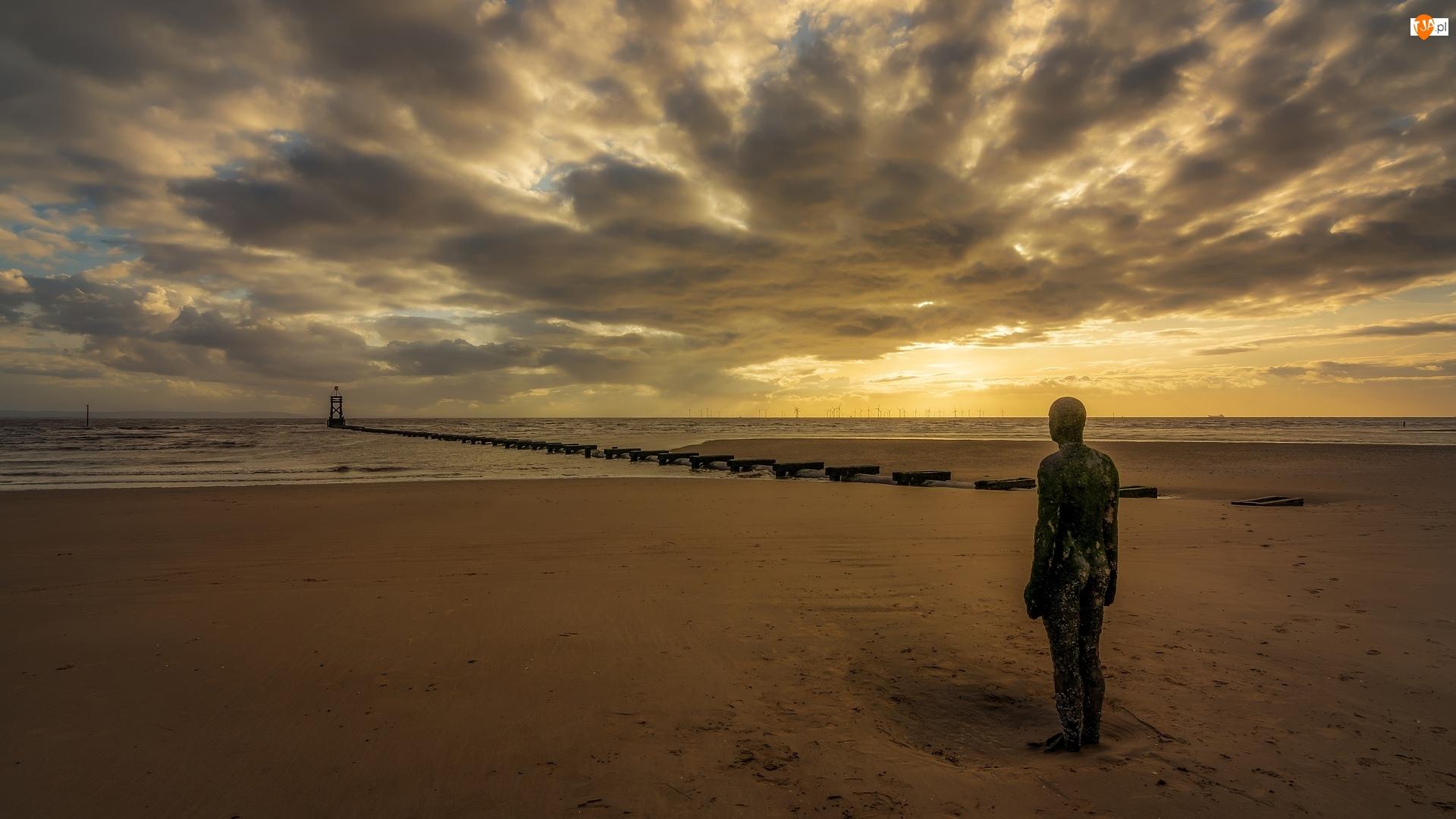 Rzeka Mersey, Plaża Crosby Beach, Anglia, Zachód słońca, Liverpool, Posąg, Żeliwny