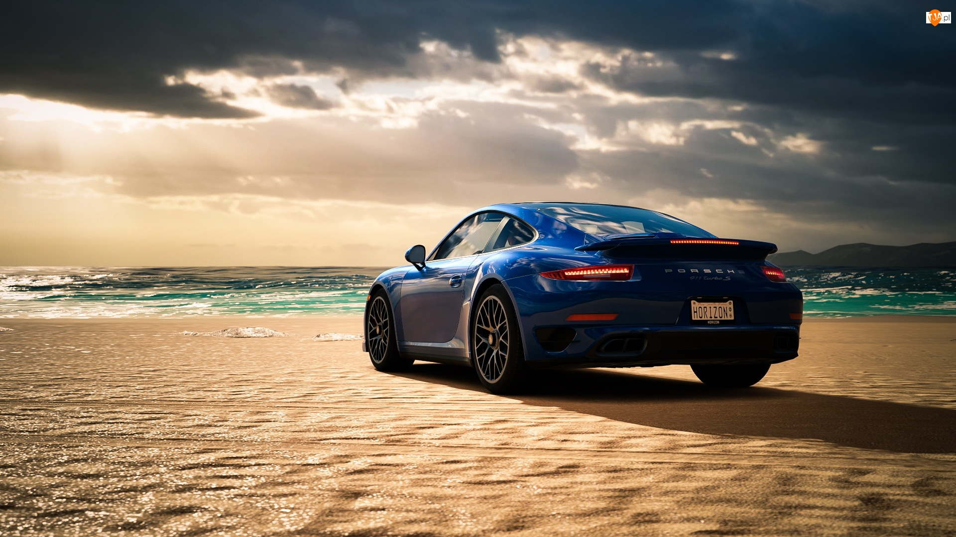 Tył, Niebieskie, Porsche 911 Turbo S