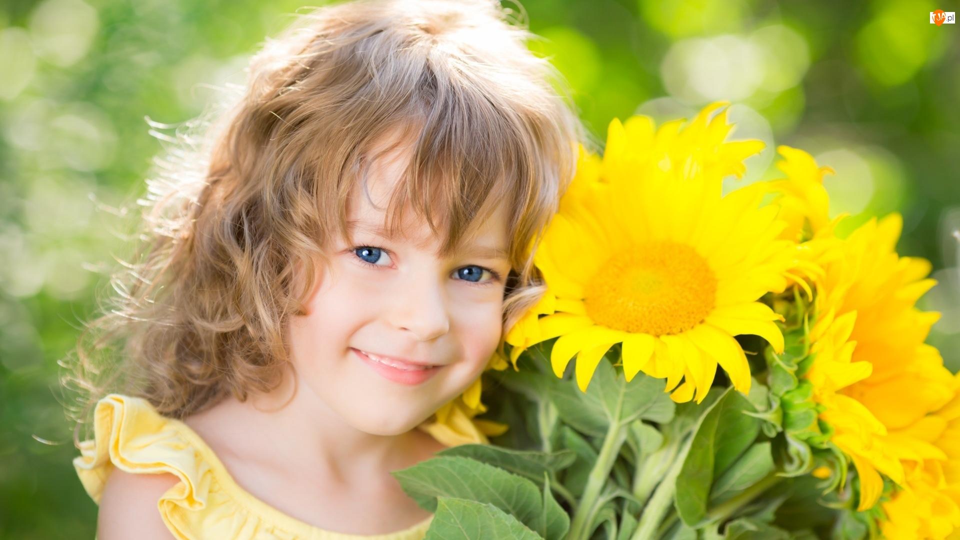 Niebieskie, Dziewczynka, Jasne, Słoneczniki, Oczy, Włosy