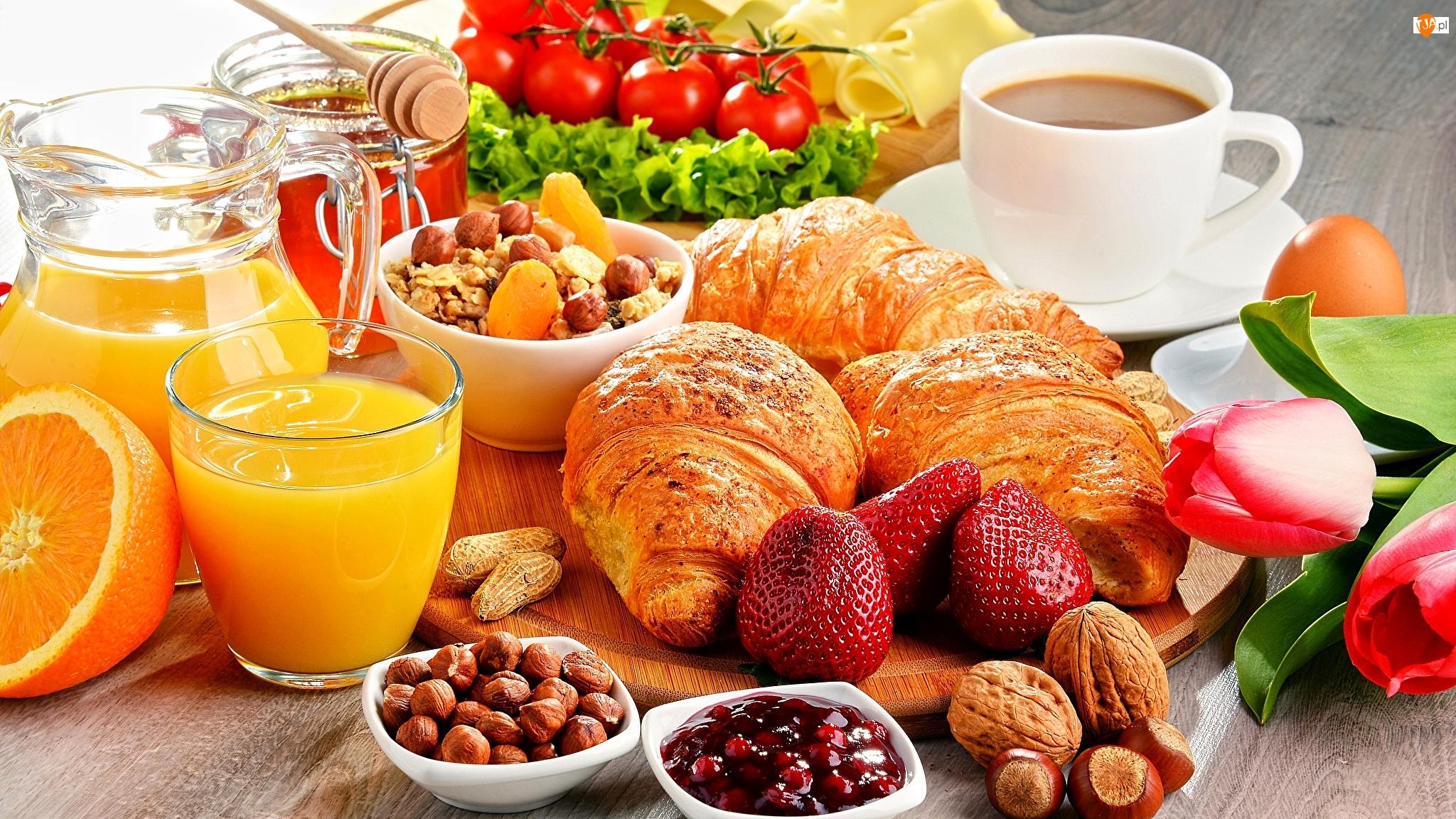 Miód, Rogaliki, Pomarańczowy, Tulipany, Filiżanka, Śniadanie, Truskawki, Sok, Croissanty, Orzechy, Szklanka, Kawa