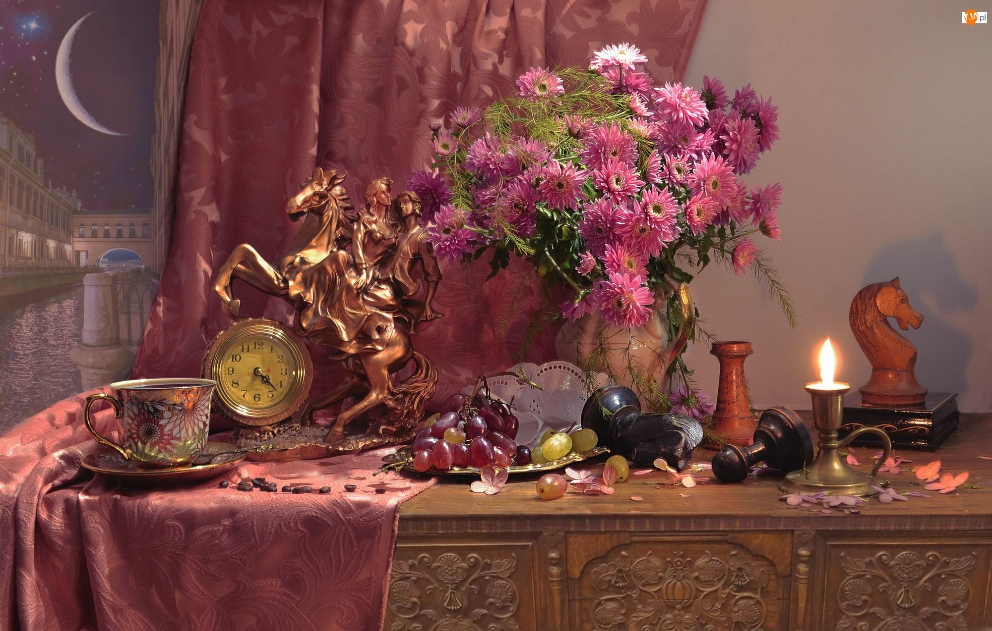 Kompozycja, Bukiet, Świecznik, Filiżanka, Szachy, Chryzantemy, Figurka, Kwiaty, Zegar