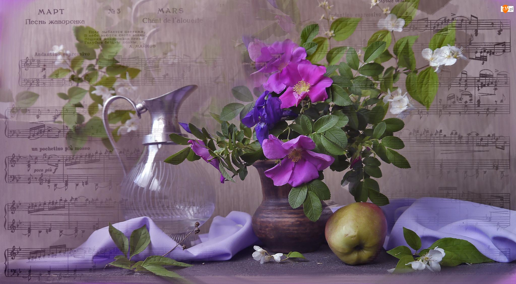 Dzika róża, Bukiet, Dzban, Kwiaty, Szklany, Nuty, Jabłko