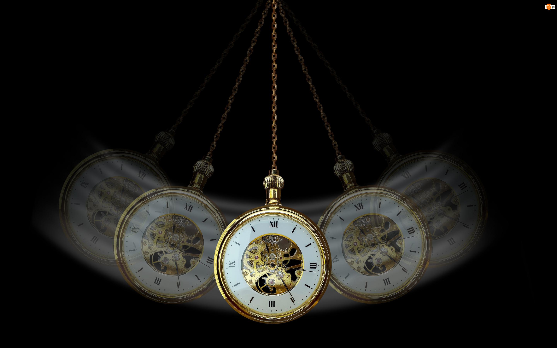 Złoty, Zegarek, Czarne, Kieszonkowy, Tło, Czas, Łańcuszek