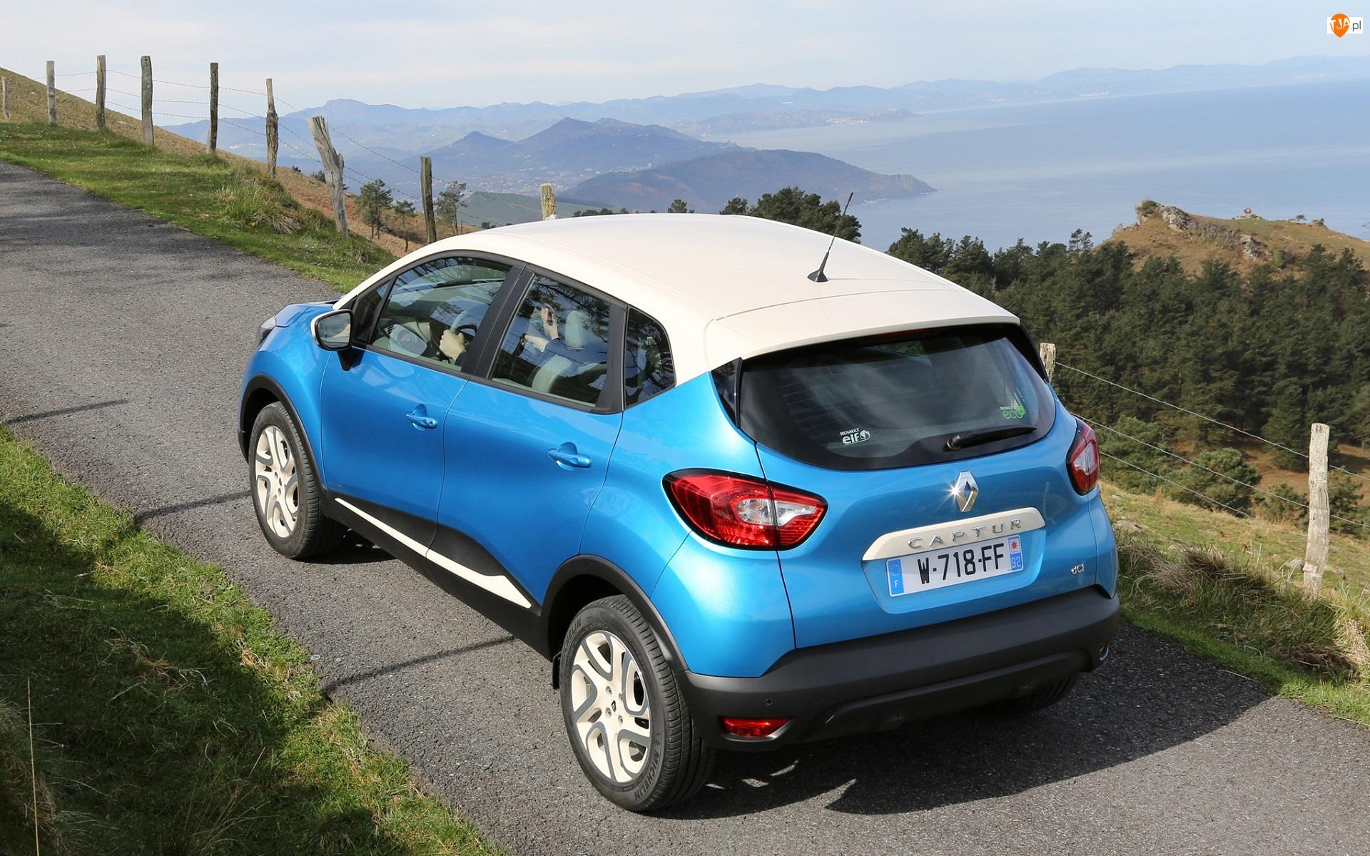 Dach, Niebieski, Renault Captur, Biały