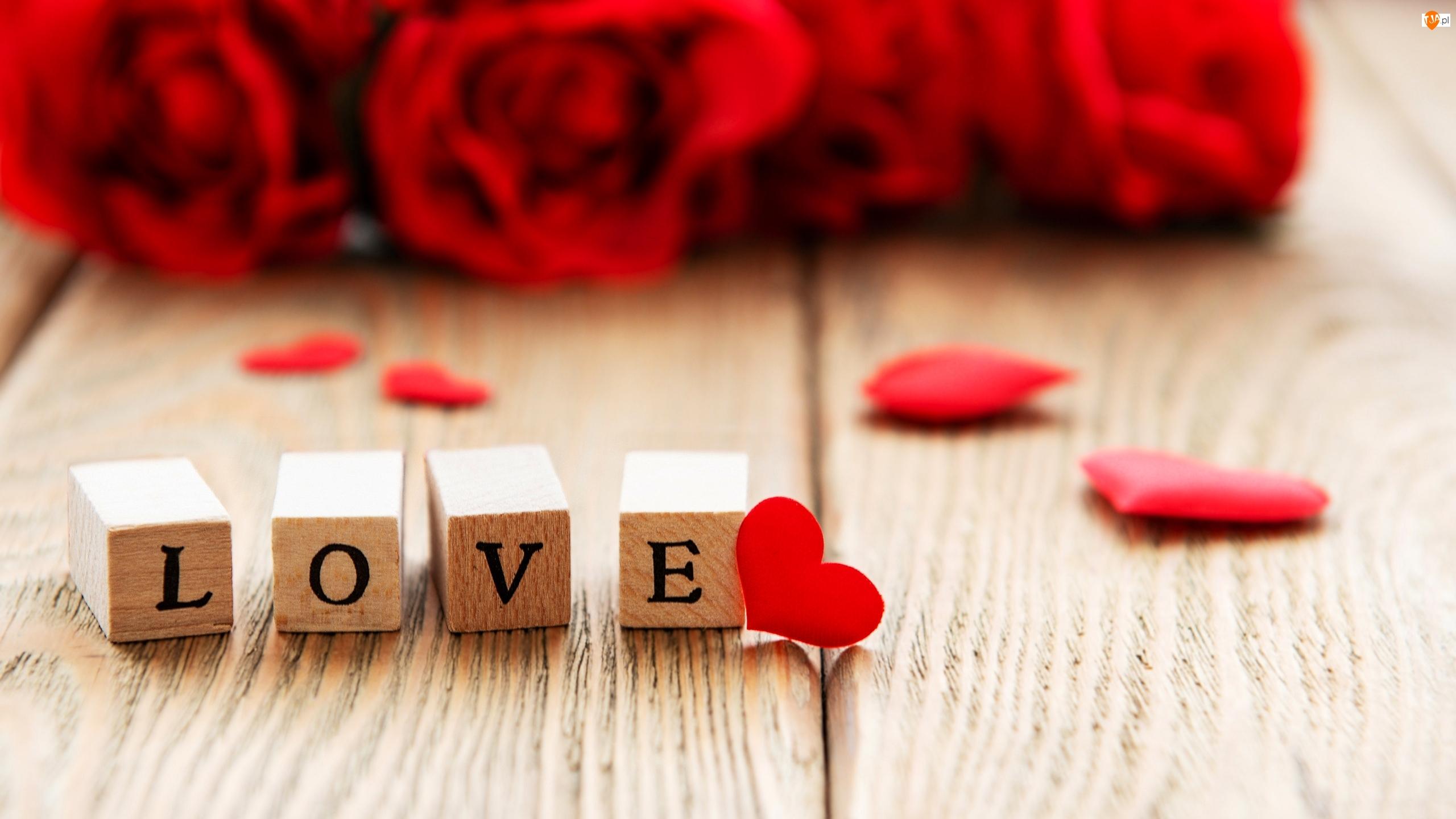 Serce, Klocki, Love, Róże, Miłość, Czerwone, Rozmycie, Napis