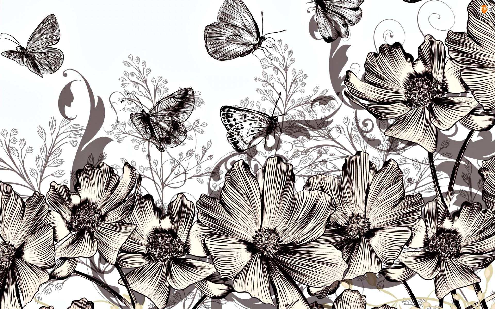 2D, Kwiaty, Motyle, Sepia