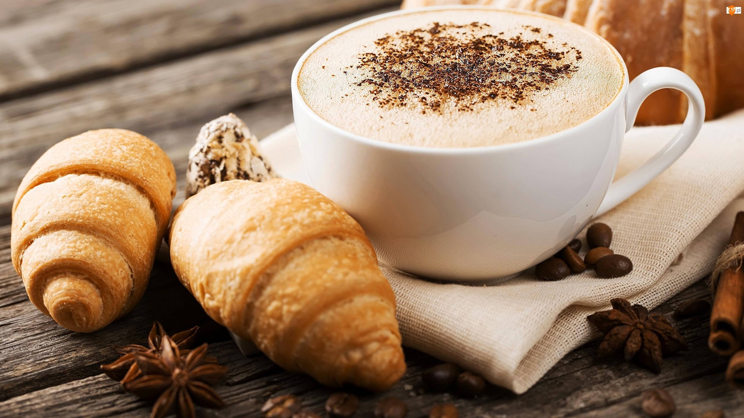 Cappuccino, Filiżanka, Ziarna, Kawa, Ściereczka, Croissanty, Rogaliki