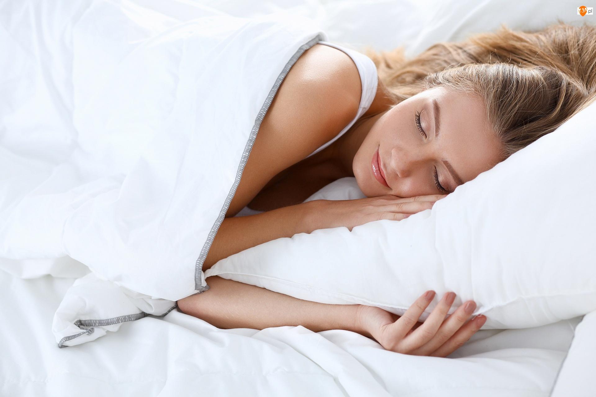Pościel, Śpiąca, Kobieta, Biała