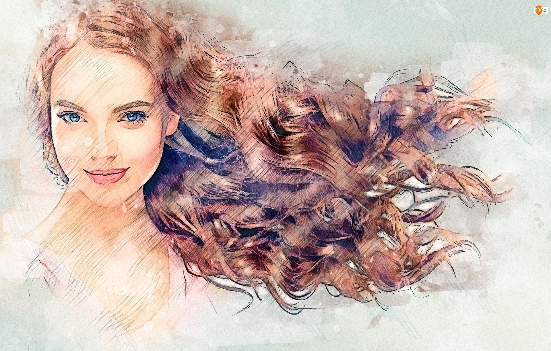 Rude, Włosy, Uśmiech, Kobieta, Grafika, Oczy, Niebieskie