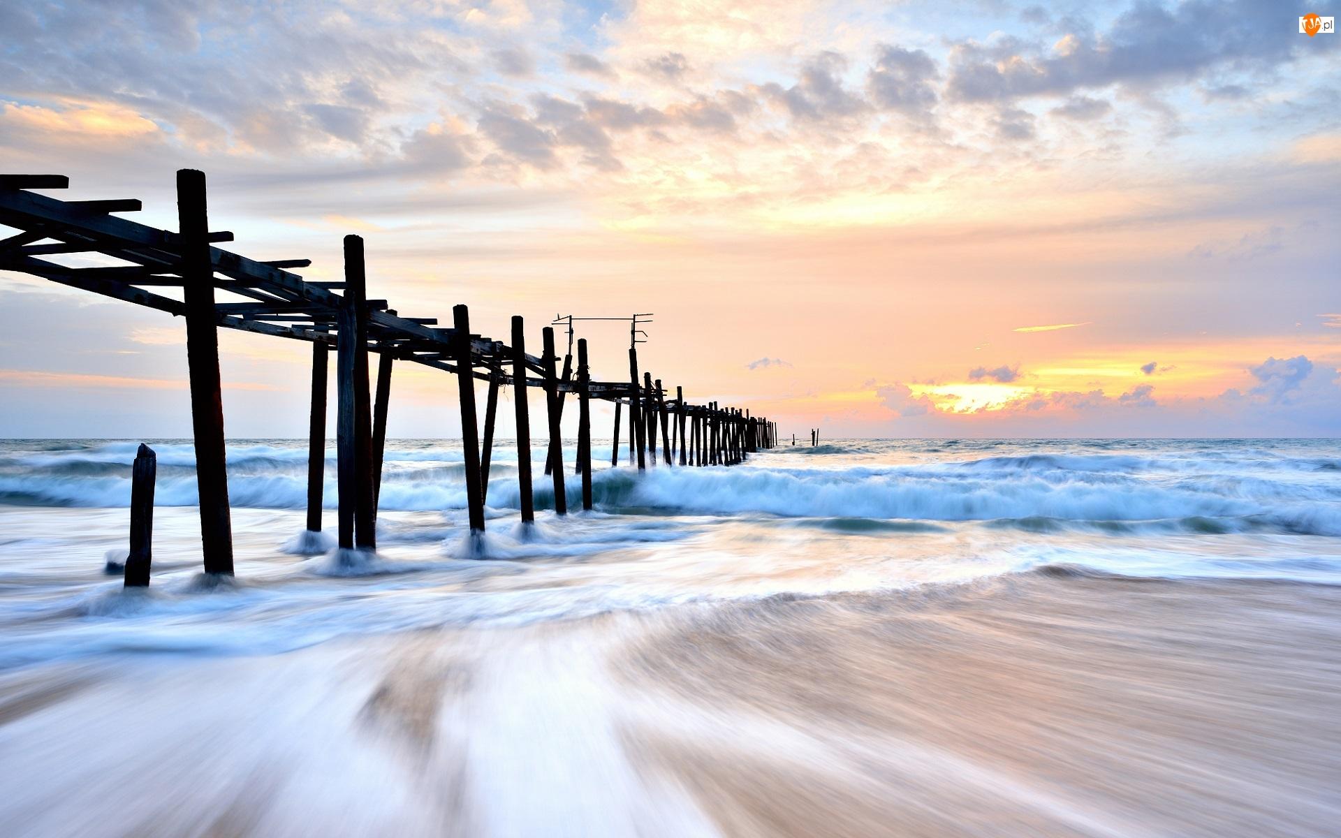 Molo, Wschód słońca, Morze, Zniszczone