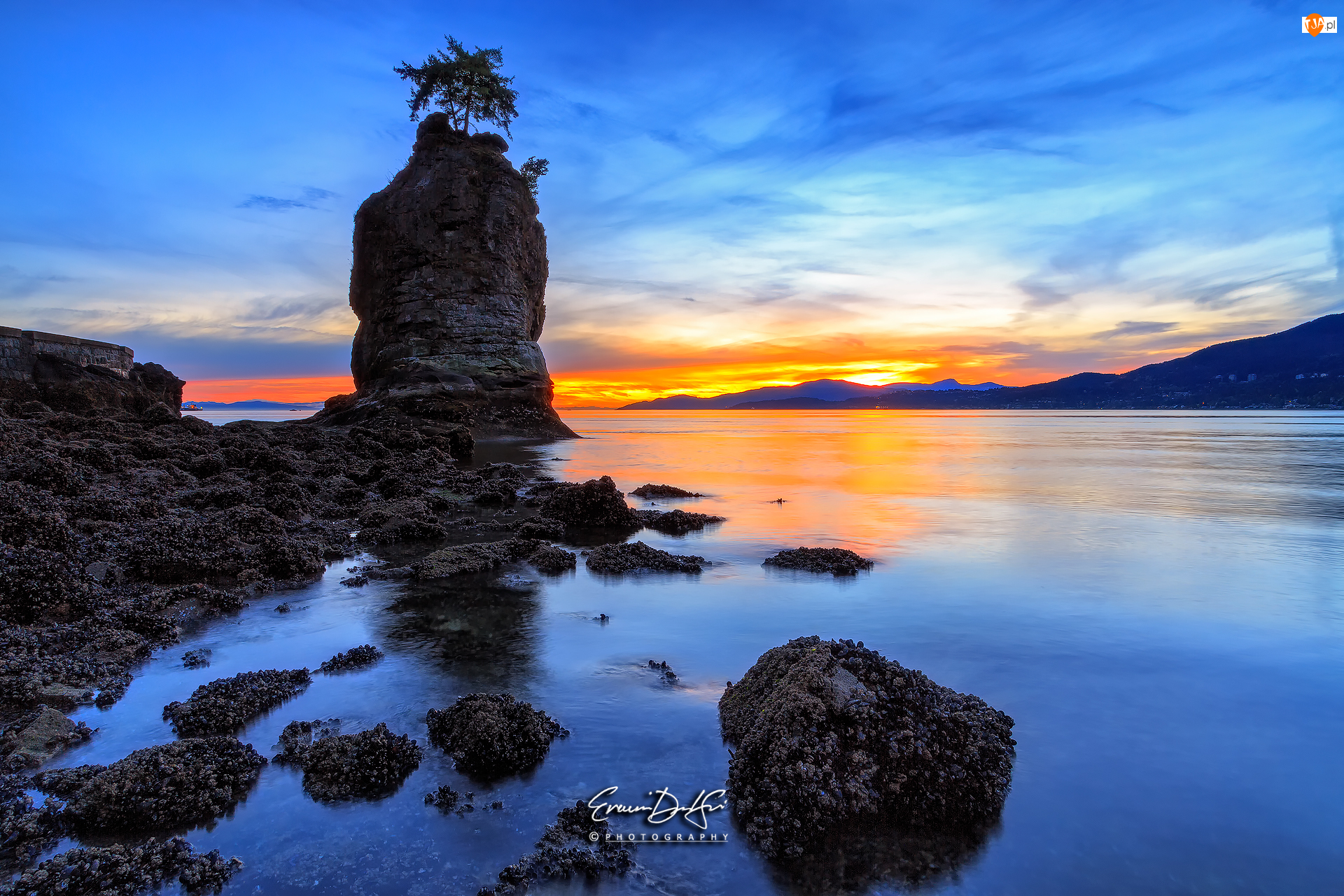 Siwash Rock, Morze, Stanley Park, Vancouver, Skały, Punkt obserwacyjny, Kanada, Wschód słońca