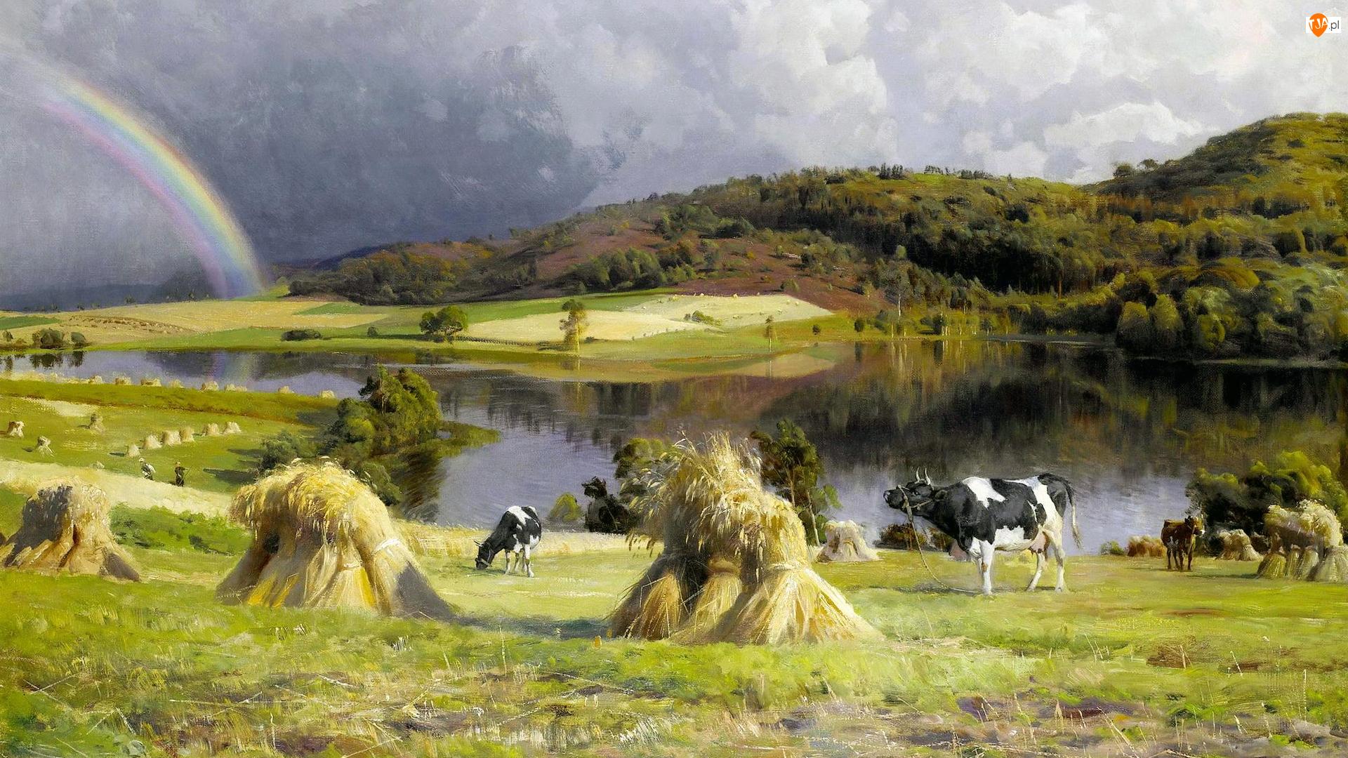Wzgórza, Obraz, Krowy, Wieś, Pastwisko, Peder Mork Monsted, Tęcza, Malarstwo, Rzeka