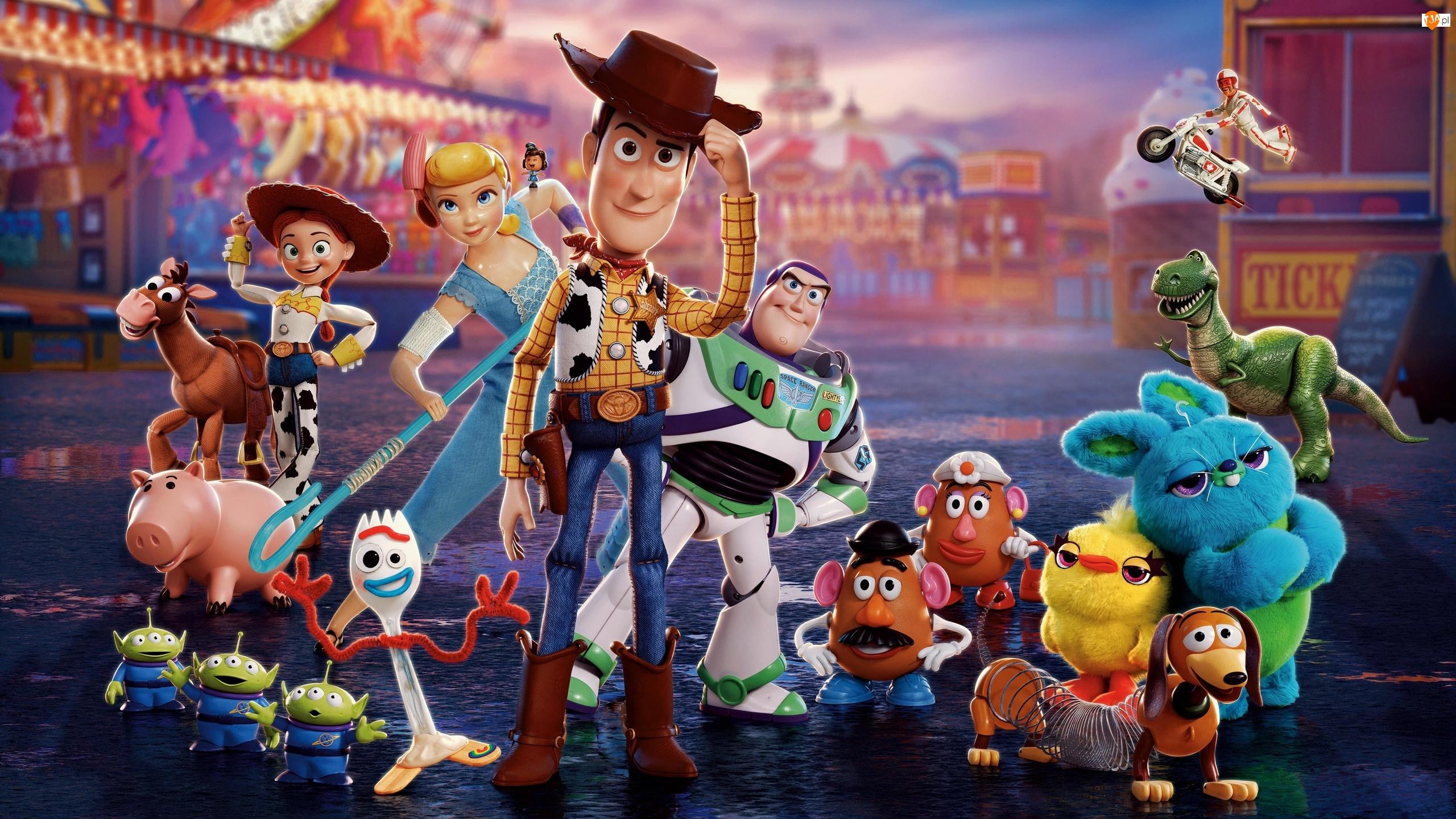 Toy Story 4, Duke Caboom, Kosmici, Ducky, Bo Peep, Forky, Cienk, Laleczka, Chudy, Gabby Gabby, Pan Bulwa, Postacie, Buttercup, Bunny, Buzz Astral, Film animowany, Bonnie
