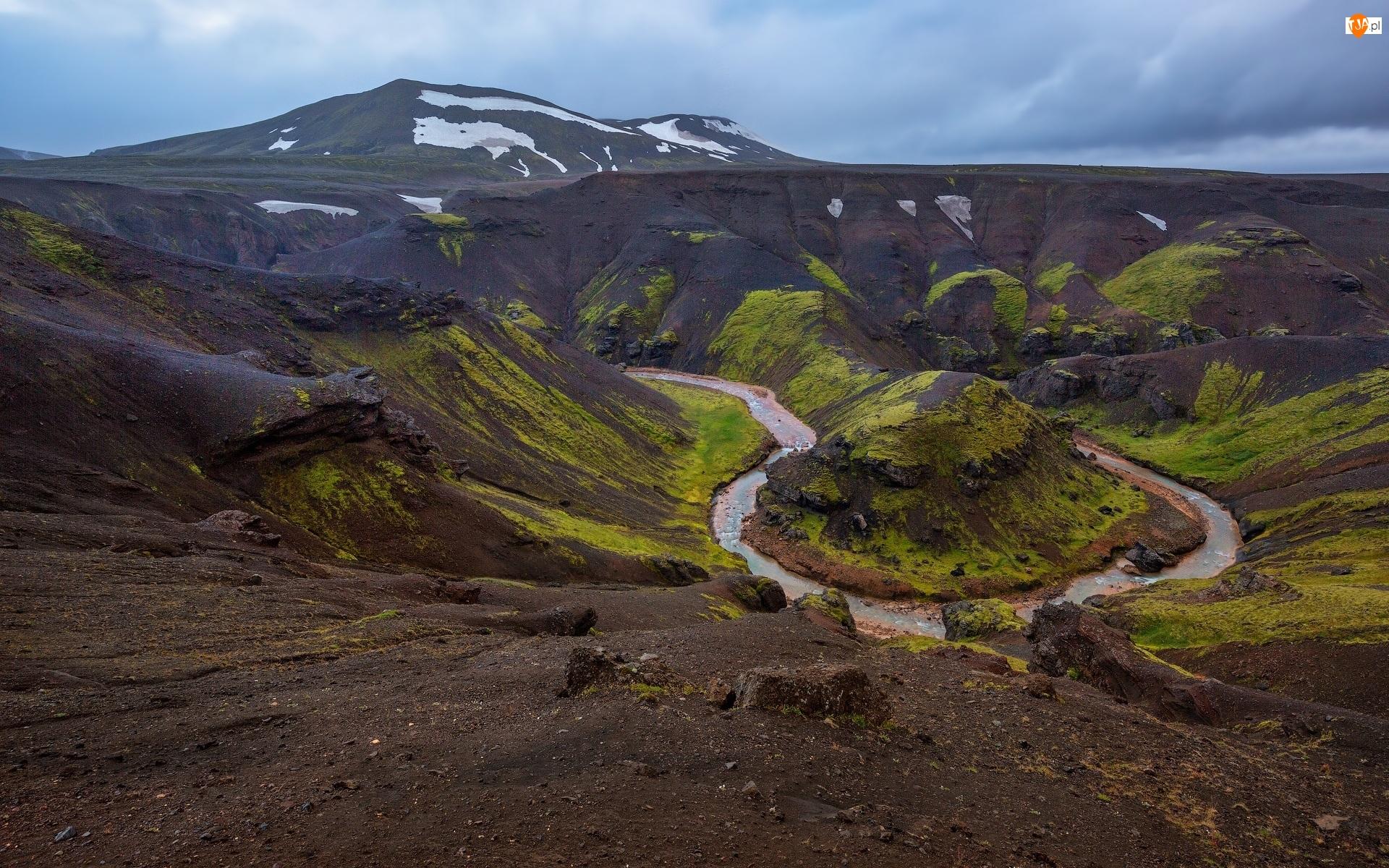 Masyw wulkaniczny, Kerlingarfjoll, Islandia, Góry, Zakole, Rzeka, Skały