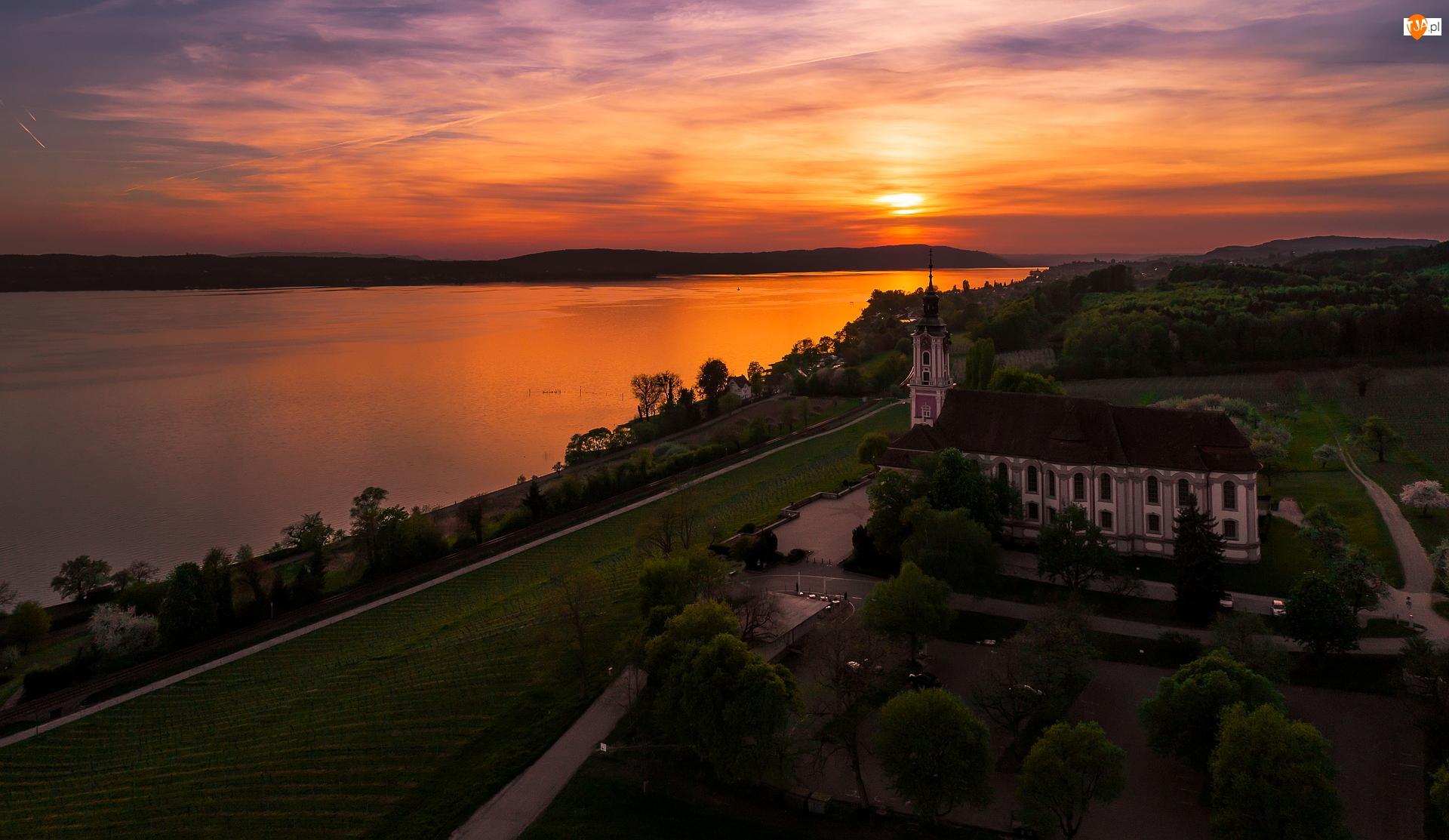Bazylika Birnau, Kościół, Zachód słońca, Niemcy, Jezioro Bodeńskie, Uhldingen-Muhlhofen