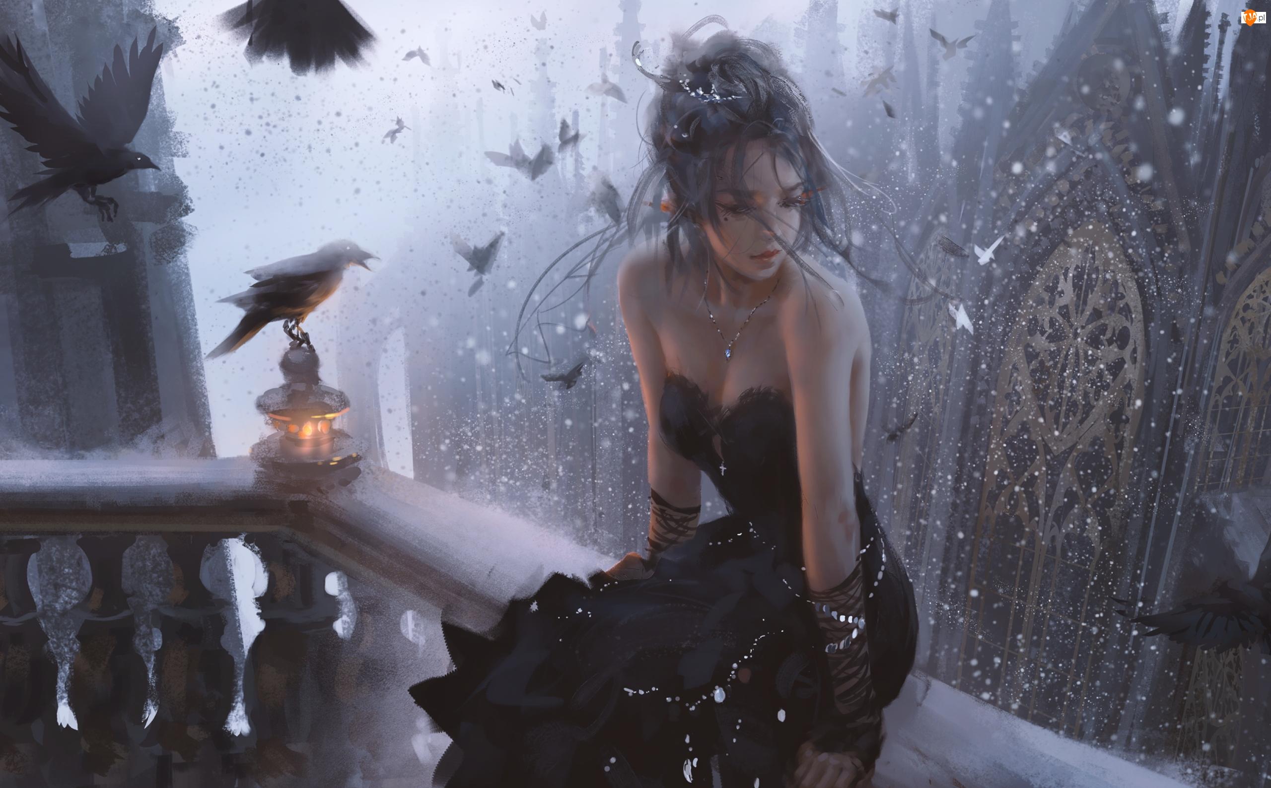 Dziewczyna, Księżniczka, Sukienka, Grafika, Czarna, Balustrada