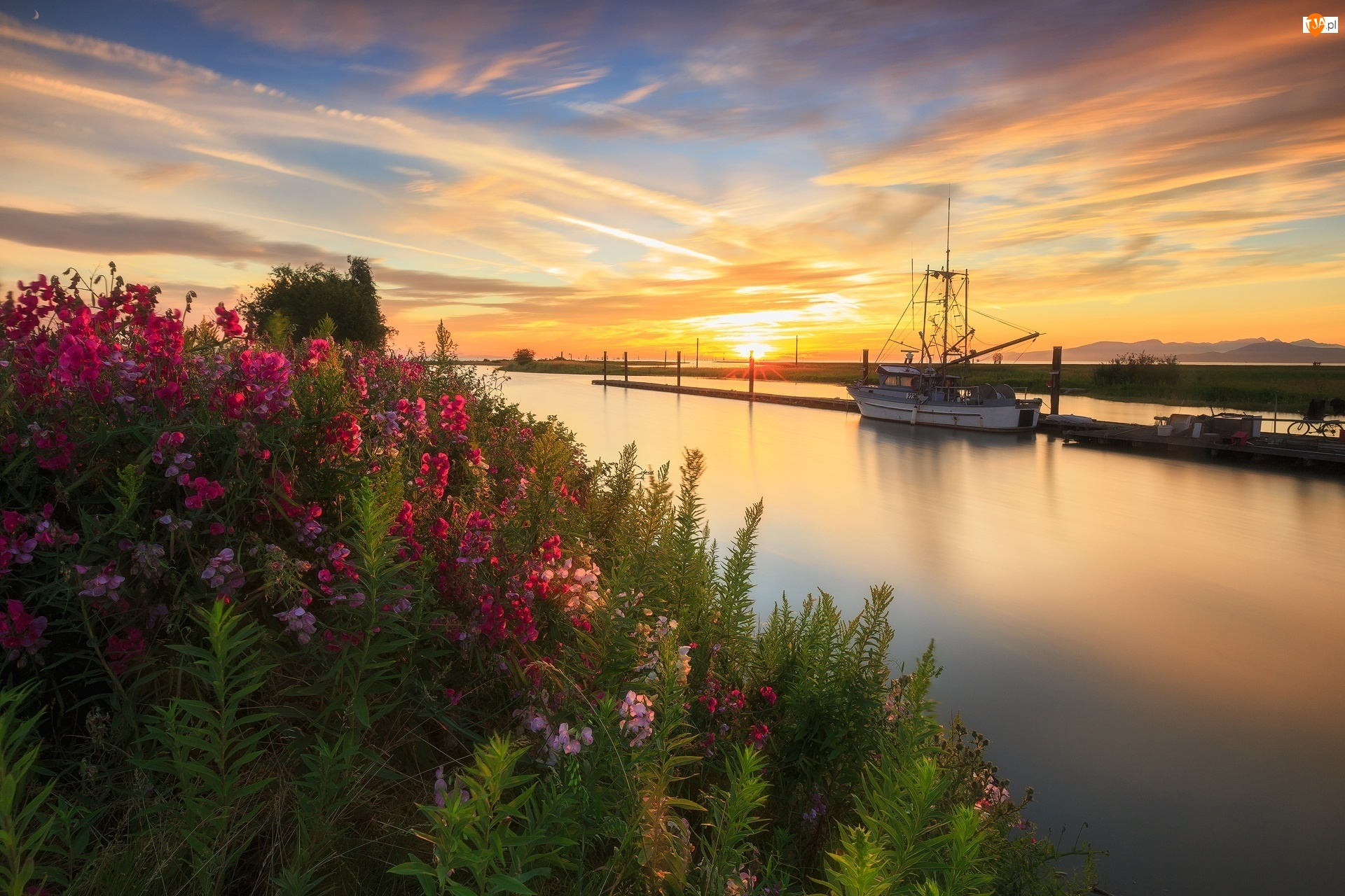 Richmond, Zachód słońca, Kwiaty, Prowincja Kolumbia Brytyjska, Rzeka Fraser, Garry Point Park, Kanada, Statek