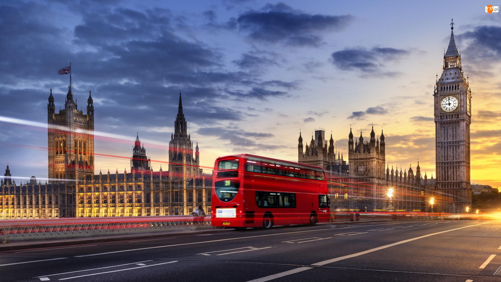 Piętrowy, Wielka Brytania, Big Ben, Autobus, Londyn, Czerwony, Droga, Pałac Westminsterski