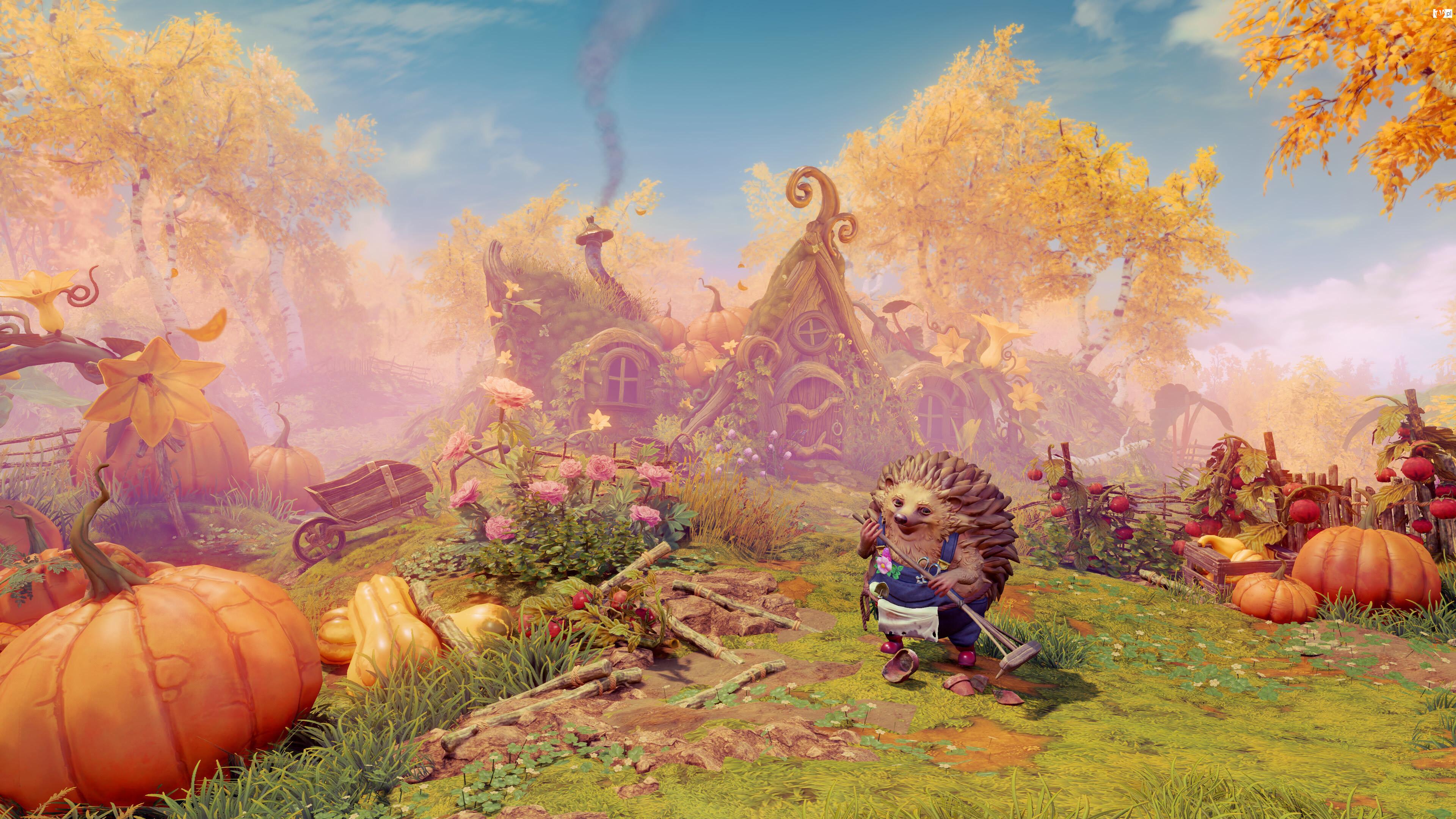 Dynie, Gra, Jeż, Kwiaty, Trine 4 The Nightmare Prince, Ogrodnik, Domek, Ogród