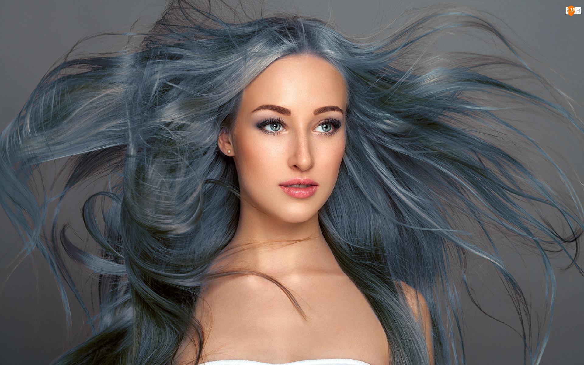 Włosy, Kobieta, Długie, Siwe