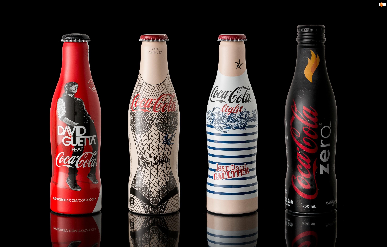 Napój, Cztery, Odbicie, Coca-Cola, Tło, Czarne, Butelki