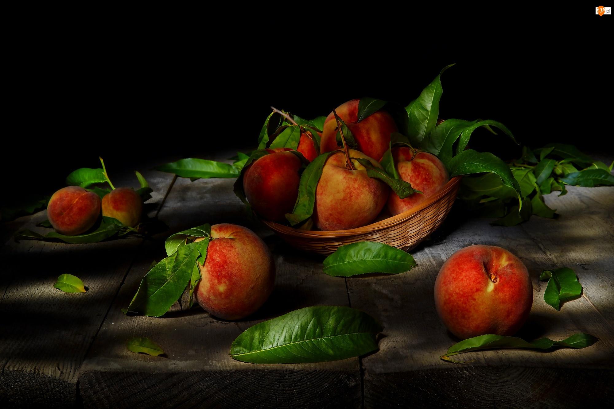 Liście, Owoce, Brzoskwinie, Koszyczek