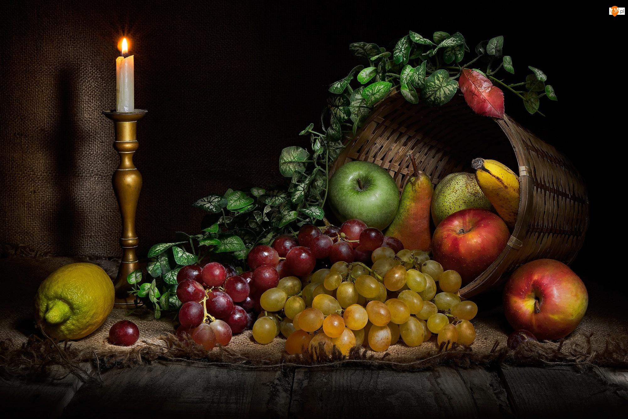 Kompozycja, Owoce, Świeca, Banan, Gruszki, Winogrona, Jabłka, Kosz, Cytryna