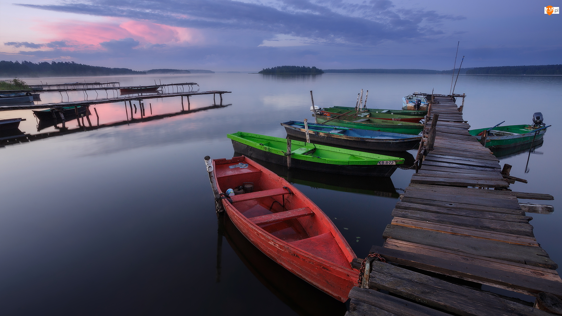 Łódki, Jezioro, Pomost, Kolorowe