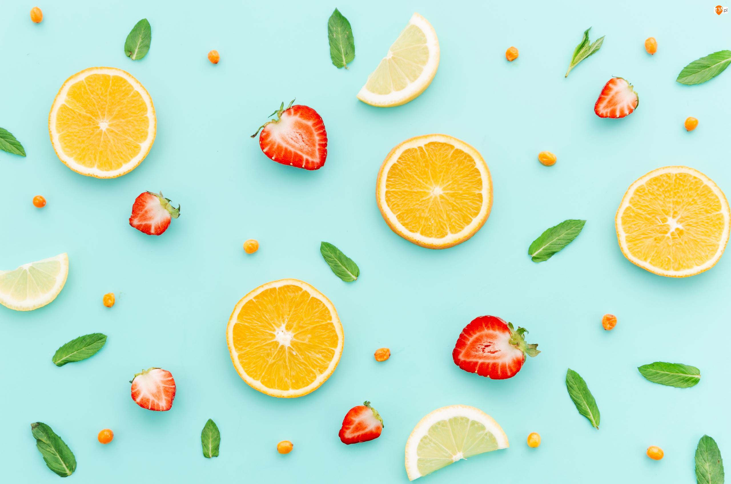 Cytryny, Listki.Mięty, Pomarańcze, Owoce, Truskawki