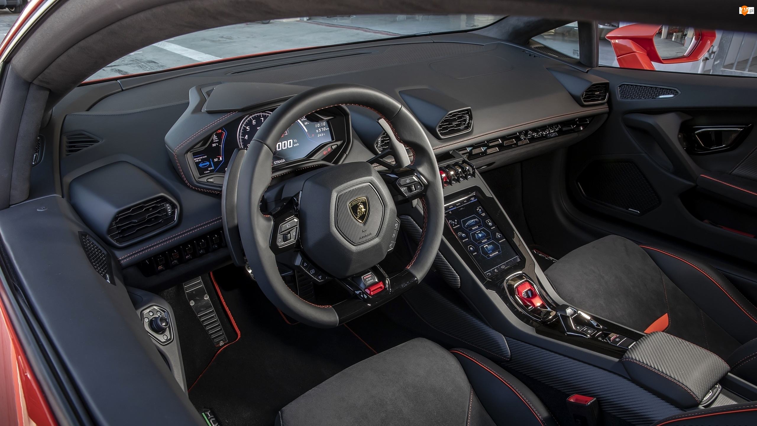 Kierownica, Lamborghini Huracan EVO, Wnętrze, Kokpit